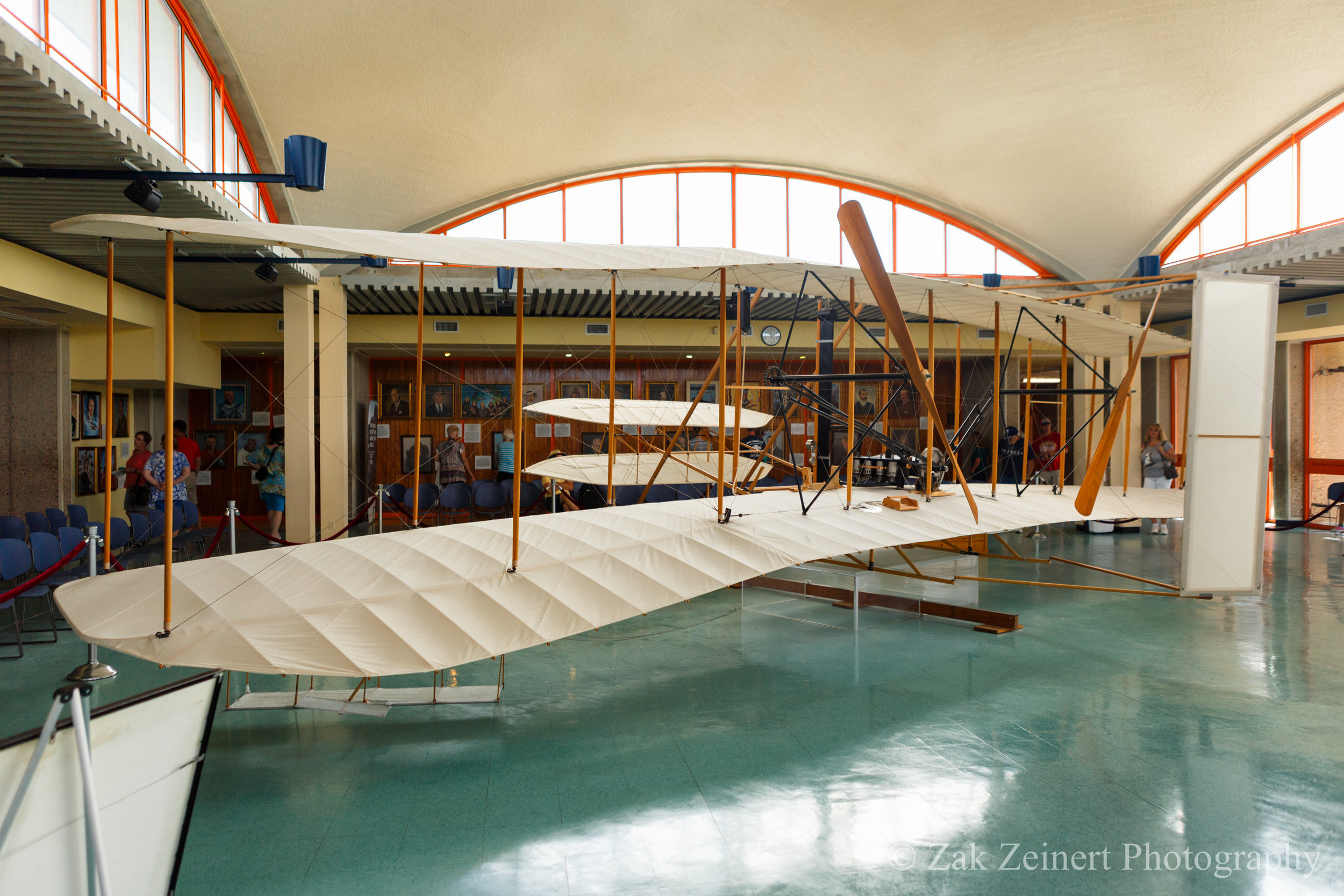 A replica of the Wright Flyer. The original is on display in the National Air and Space Museum in Washington DC.