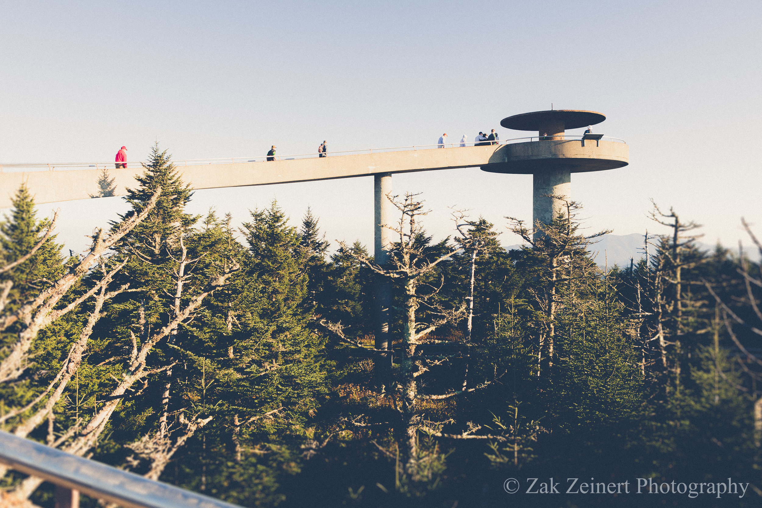 Clingman's Dome - at 6,643 feet in elevation, it is the highest point in the park. This shot was taken on a clear day