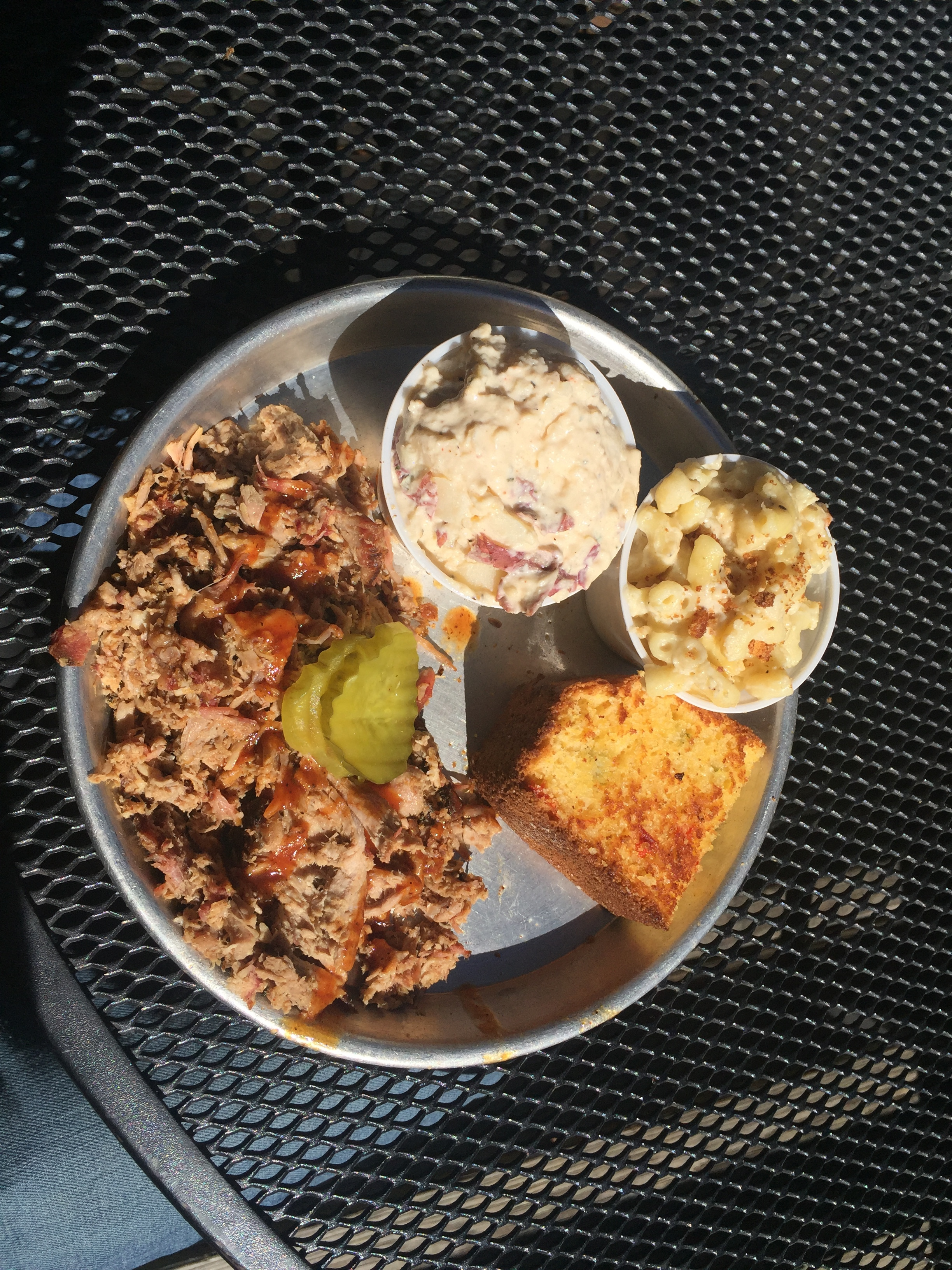 Pulled Pork, Potato Salad, Mac & Cheese, and Corn Bread from