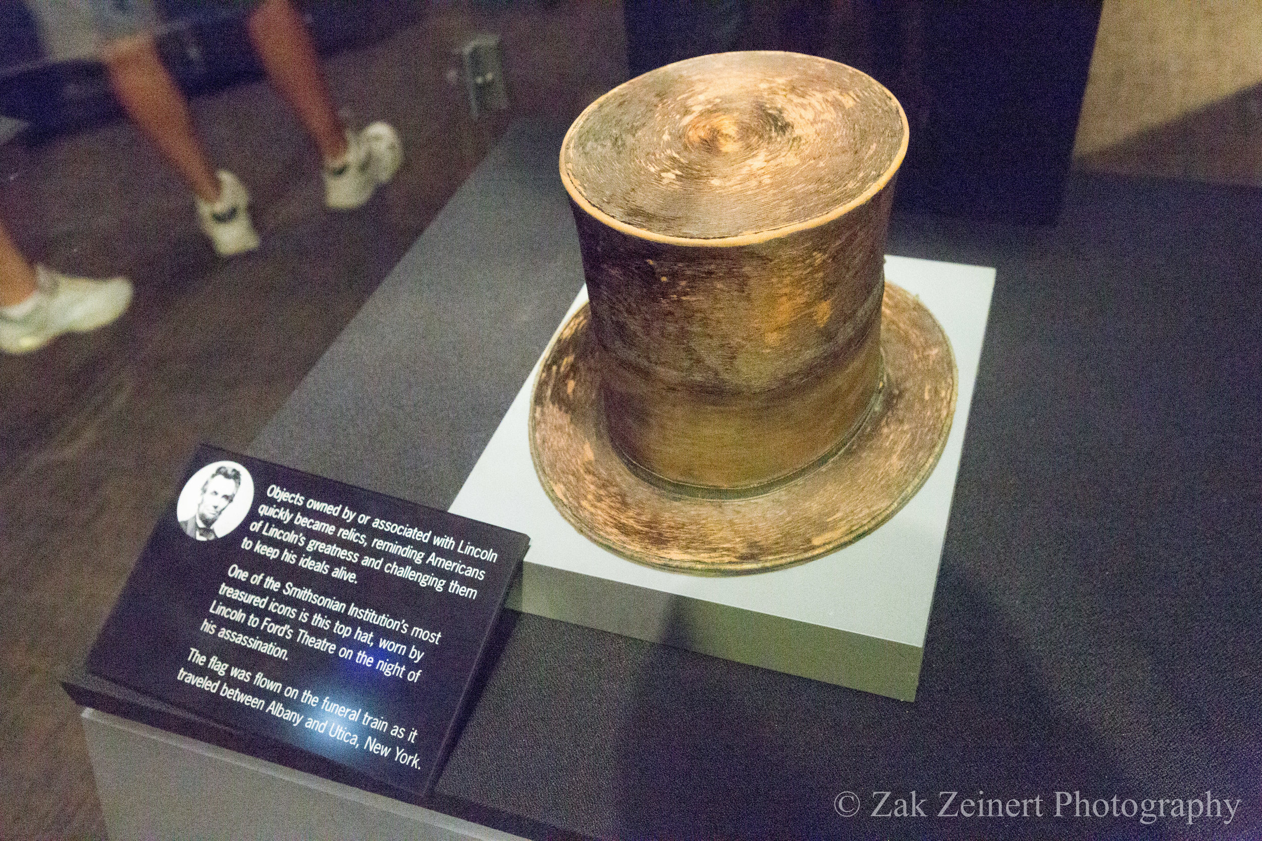 The top hat that Abraham Lincoln was wearing when he was assassinated. Taken at the Smithsonian American History Museum.