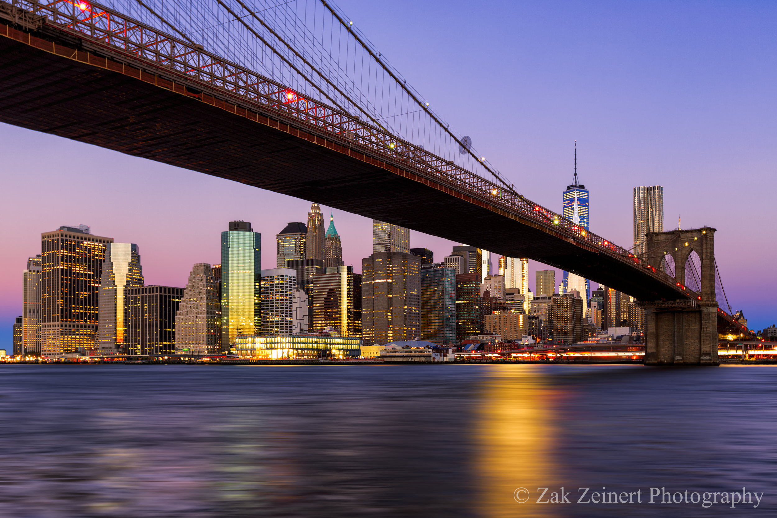 New York Skyline and the Brooklyn Bridge from Brooklyn Bridge Park