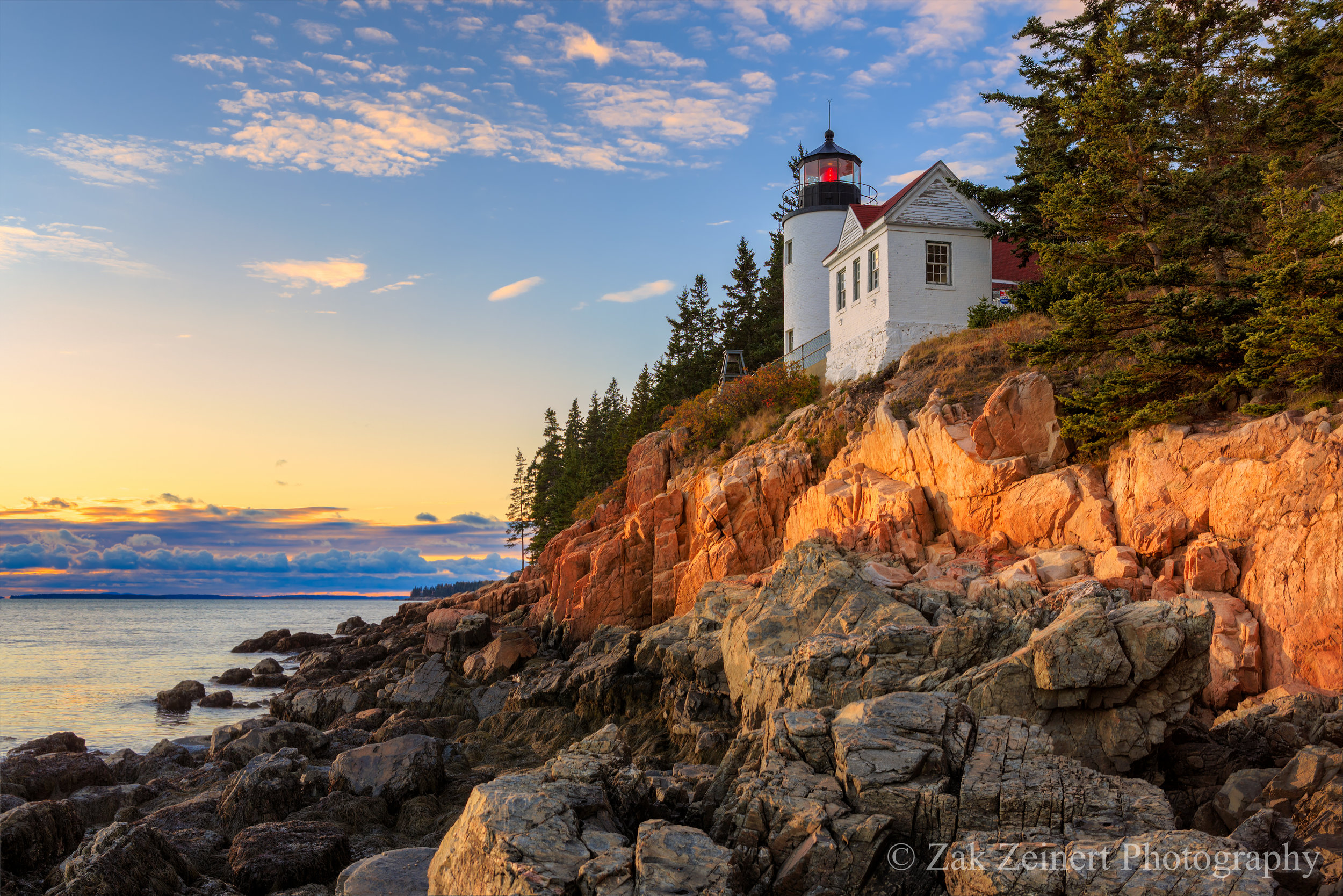 Bass Harbor lighthouse at sunset. Two days later a massive storm would blow in and this rock was shooting on would be submerged by the pounding of monstrous Atlantic waves
