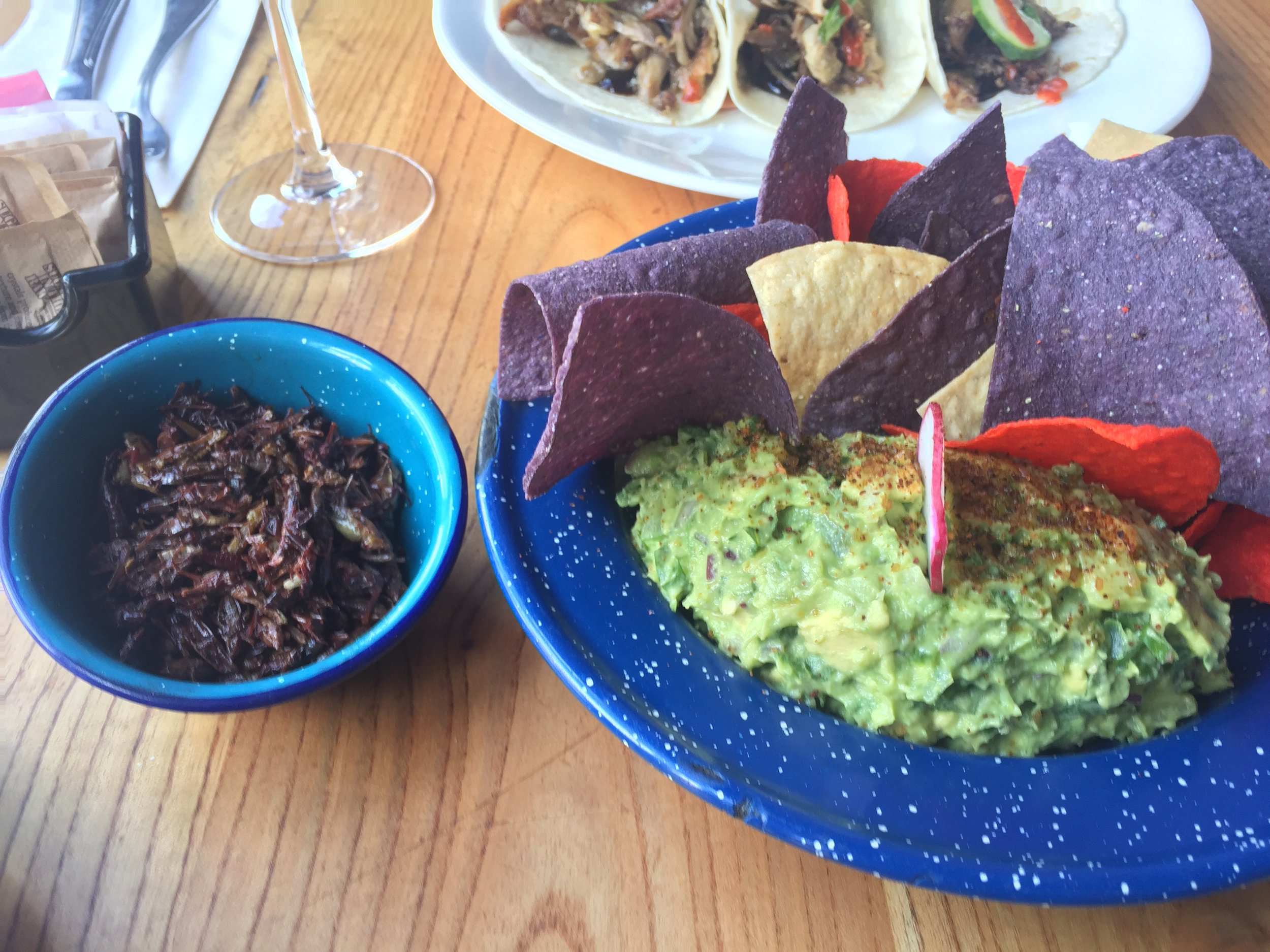 Guacamole with a side of sautéed grasshoppers