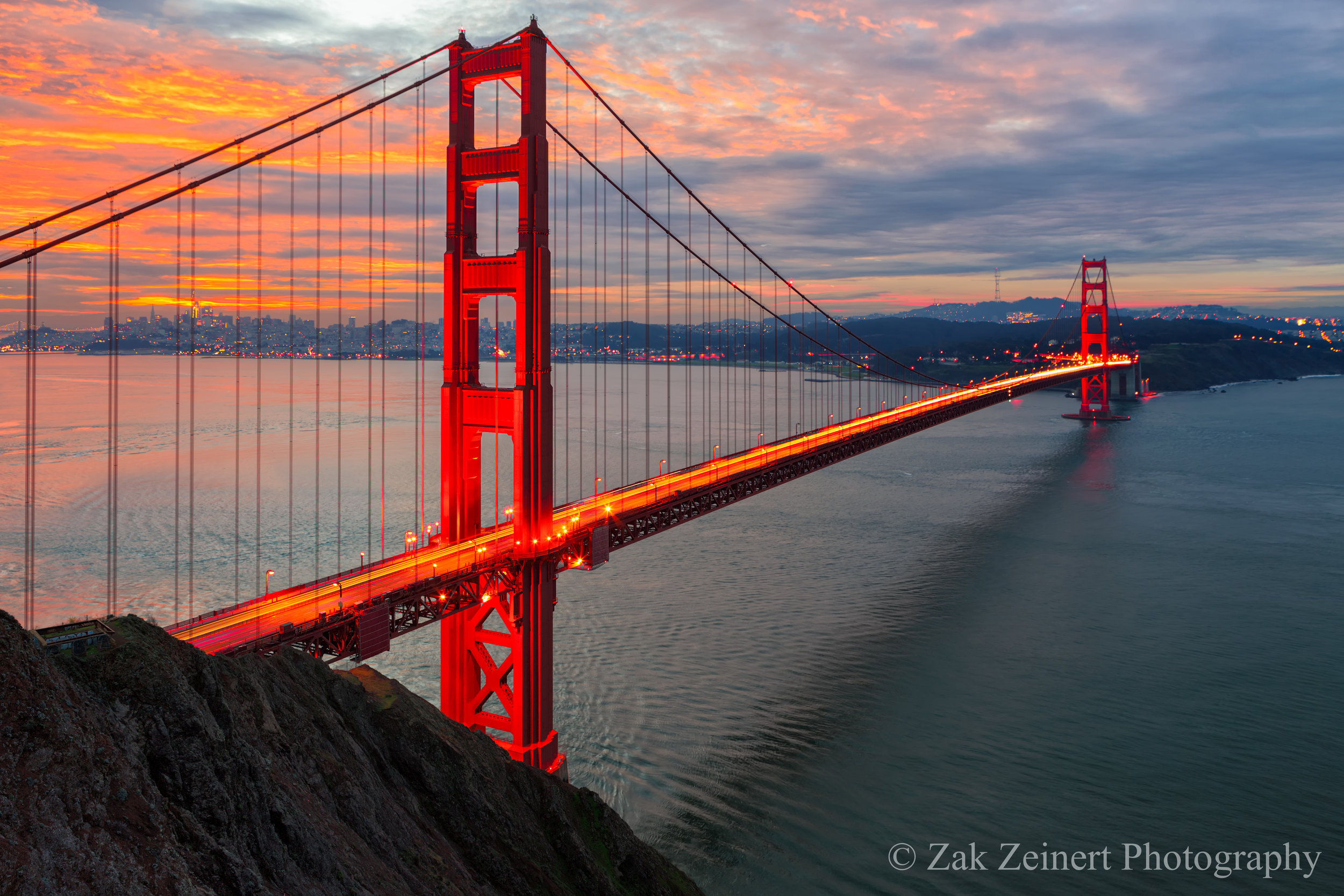 The Golden Gate Bridge at sunrise as seen from Battery Spencer Overlook
