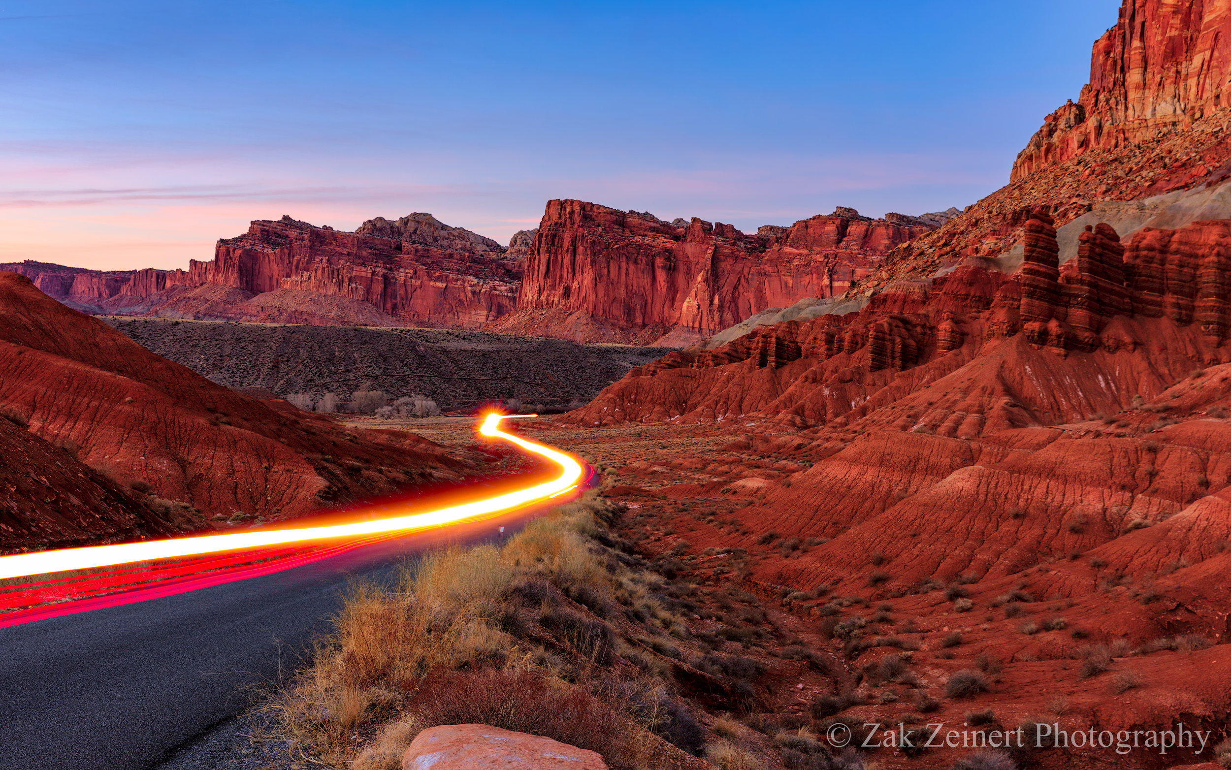 Final shot of Capitol Reef with light trails added in