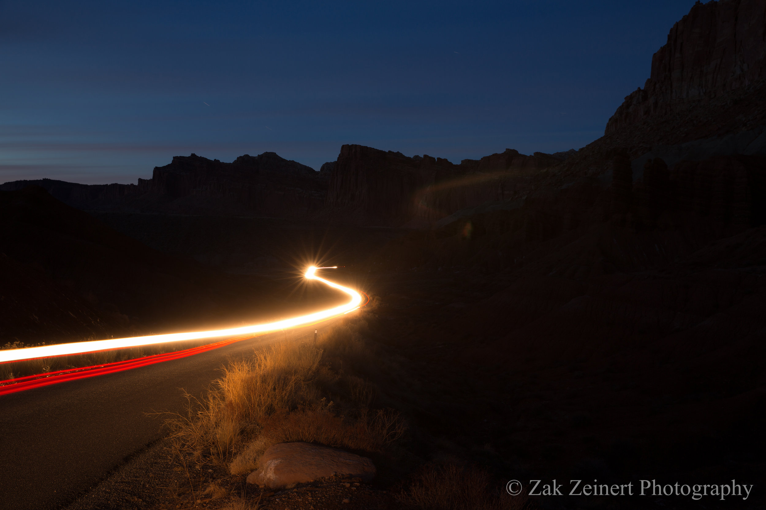 Single light trail shot