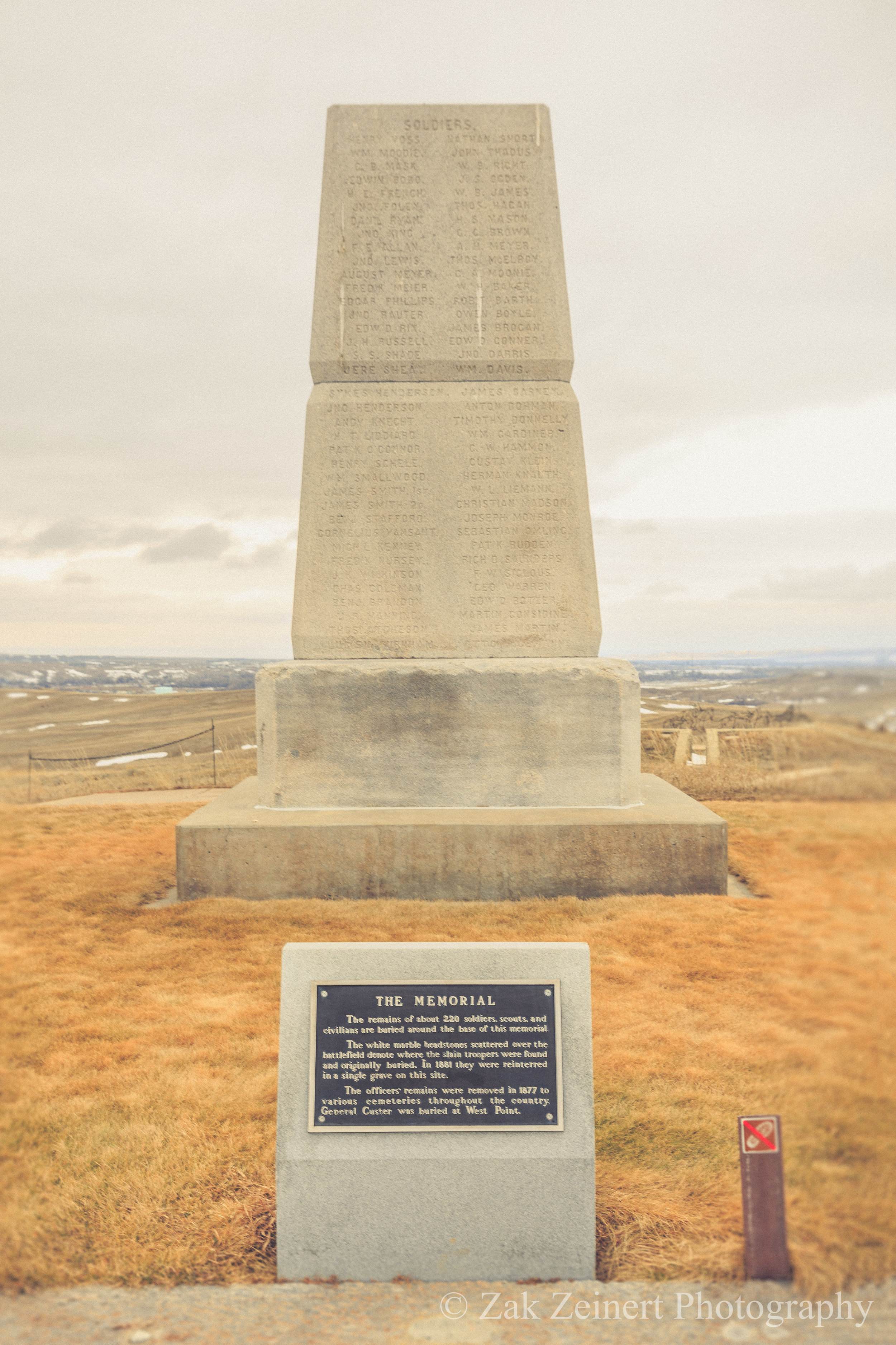 Monument marking the location where General Custer and his men were found dead
