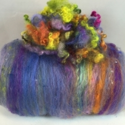 "Ruffy"" batt: highly textured art batt; with ""EXTRA"" Hand dyed Cotswold locks"