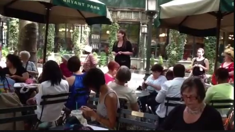 With Thanks to Melanie gall & Lisa Daehlin who entertained the knitting group in Bryant Park