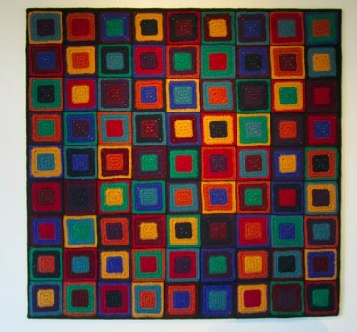 Psesudoku  : A crochet version of three superimposed Sudoku patterns. Photograph: Pat Ashforth