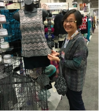 Mari Tobita with one of her designs at TNNA