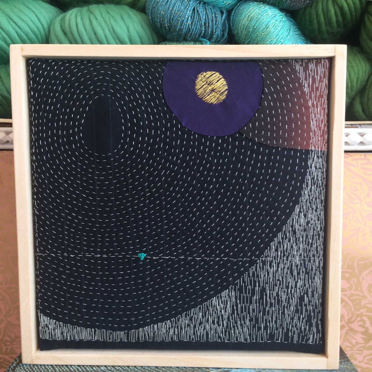 """Auction Item 01 :Art Quilt piece by  Daphne Taylor.   Hand embroidered wool fabric, cotton, metallic threads 9""""x9""""  Value: $425  Quilt Artist:  Daphne Taylor"""