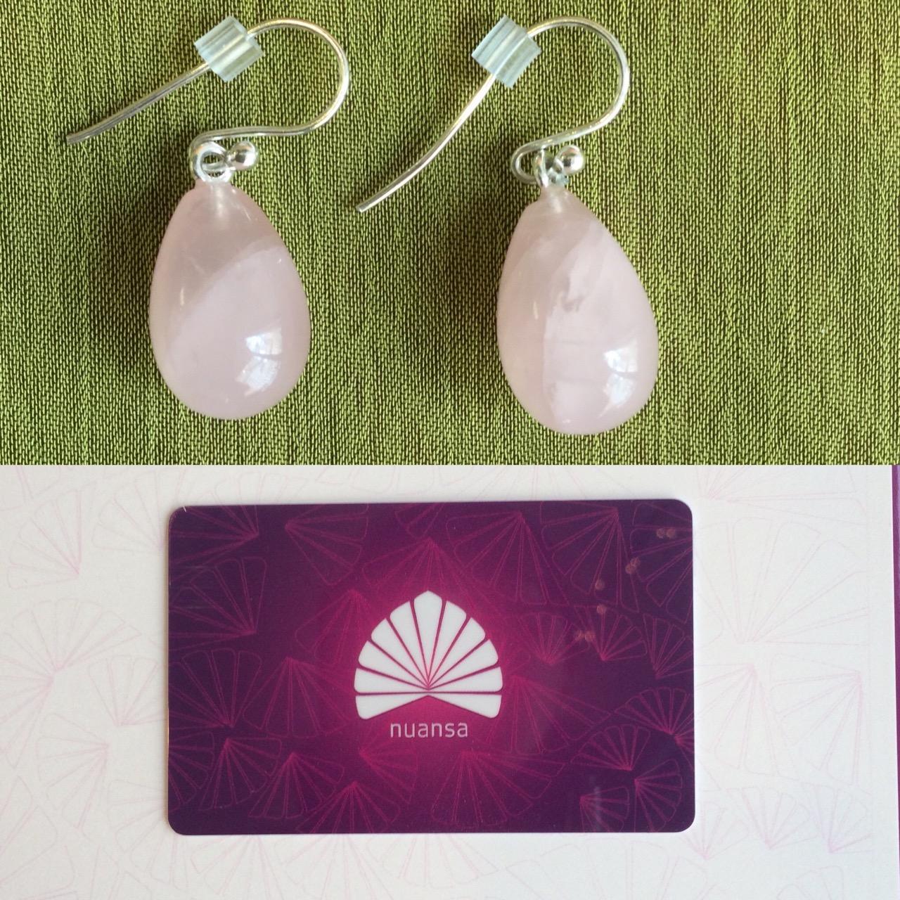 Auction Item 02: Roze Quartz Earrings by  Jeweler VeryNYC  +  Nuansa Spa  Gift Card  Value earrings: $70.--  Value Nuansa Spa gift card: $200.--  Earrings made by  Ray Anne School from VeryNYC.   Gift card by  Nuansa Spa .