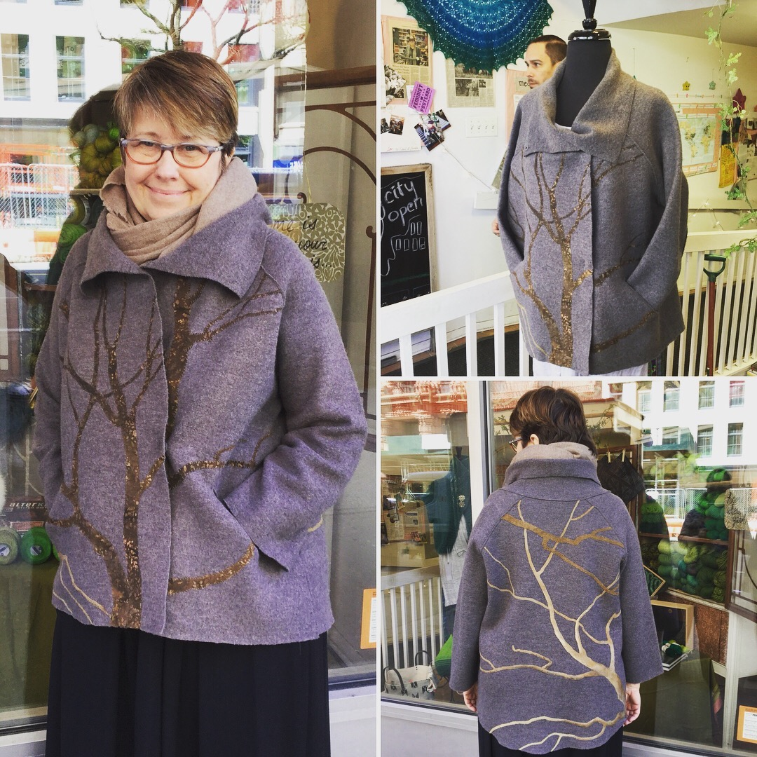 Auction Item 03: Upcycled Eileen Fisher boiled wool jacket, embellished with appliquéd tree branches. All hand stitched. Dry clean only.  Value: $500.--  Artist:  Leslie Horan Simon