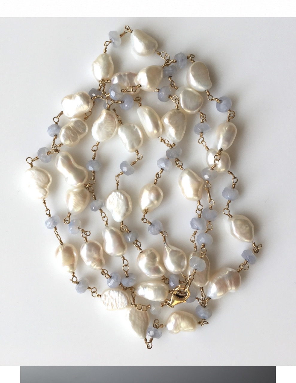 Mew Chiu Fresh Water Pearl and Chalcedony wrapped Bead Necklace (Gold -filled wire)  Value: $200.--   Mew Chiu Fine Jewelry