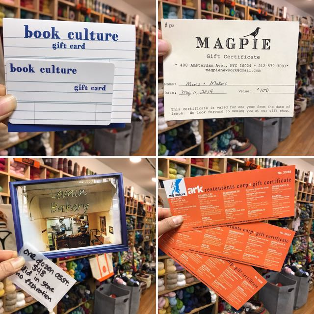 Gift cards for Book Culture    Gift certificate for Mag Pie New York    One dozen cookies for Levain Bakery