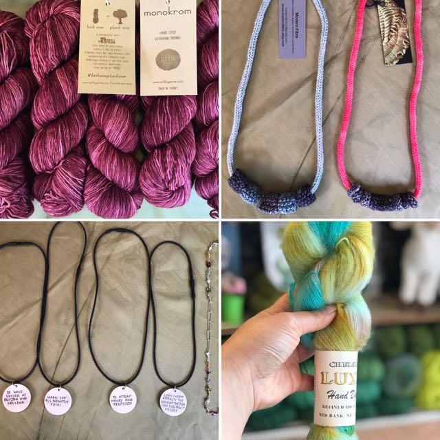 Urth Yarns skeins    Knitted Necklaces by Modern Fibre    Necklaces by VeryNYC RayAnne School    Chelsea Yarns skein