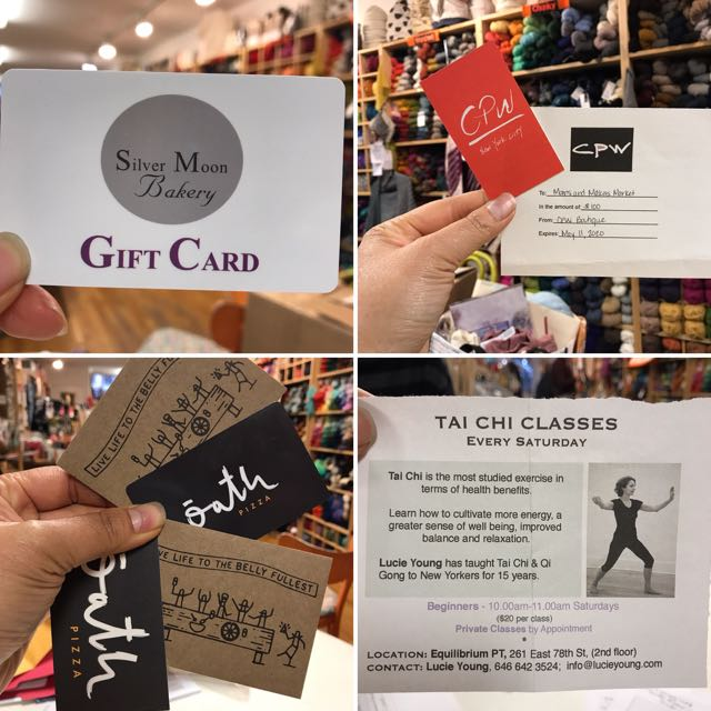 Silver Moon Bakery gift card    CPW Boutique gift card    Oath Pizza gift card   Tai Chi class by Lucie Young