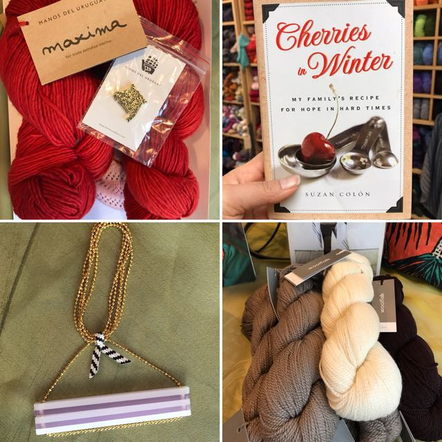 Manos del Uruguay yarn kit    Book Cherries in Winter by author Suzan Colon    Hook and Matter necklace    Woolfolk yarn kit