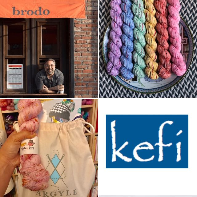 Brodo gift card    Yarn Over New York Rainbow set    Argyle Yarn Shop goodie bag with Yoshi & Lucy skein    Kefi restaurant dinner for two