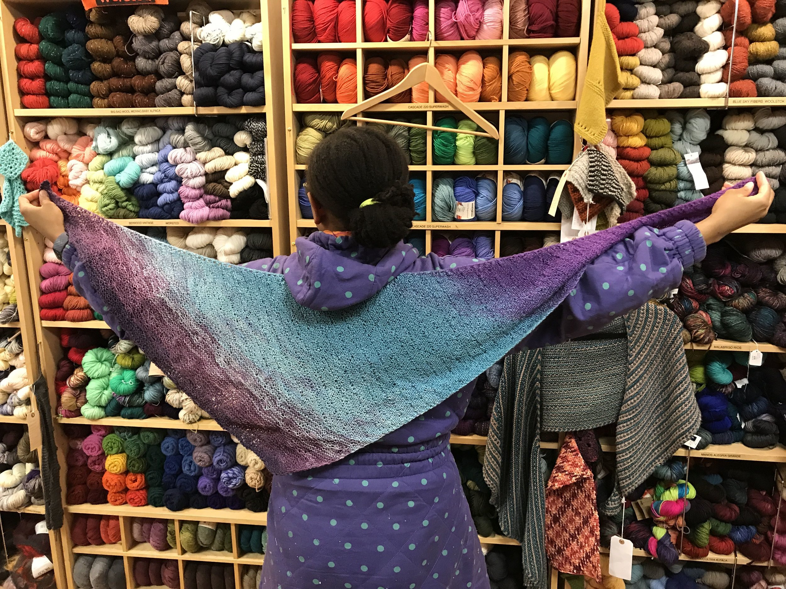 Colorful shawl knitted by Daniel Casanova-Vazquez  Value $150.-  Starting Bid $75.-