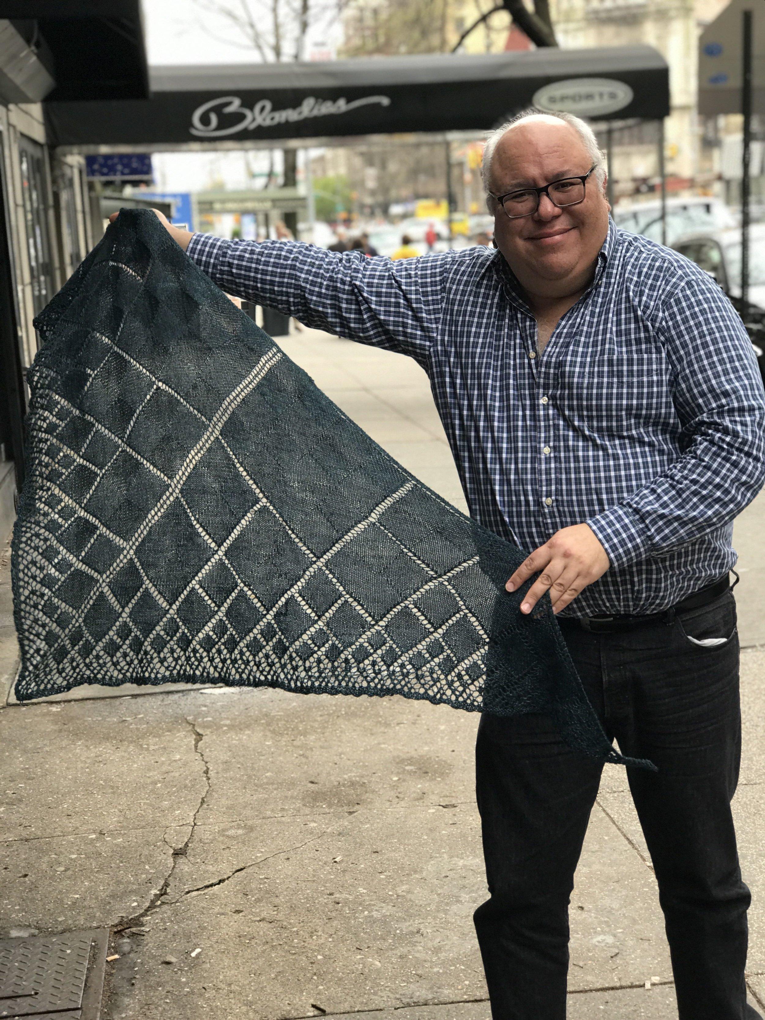 Shawl knitted by Daniel Casanova-Vazquez  Value $300.-  Starting Bid $150