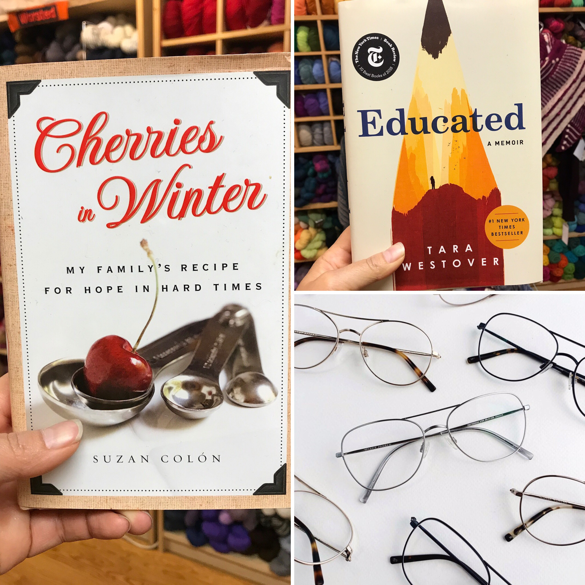 Reader's Delight  Book Cherries in Winter by  Suzan Colon    Book Culture Gift  Card $50.-   Warby Parker glasses  Gift Card $95.-  Starting Bid $80