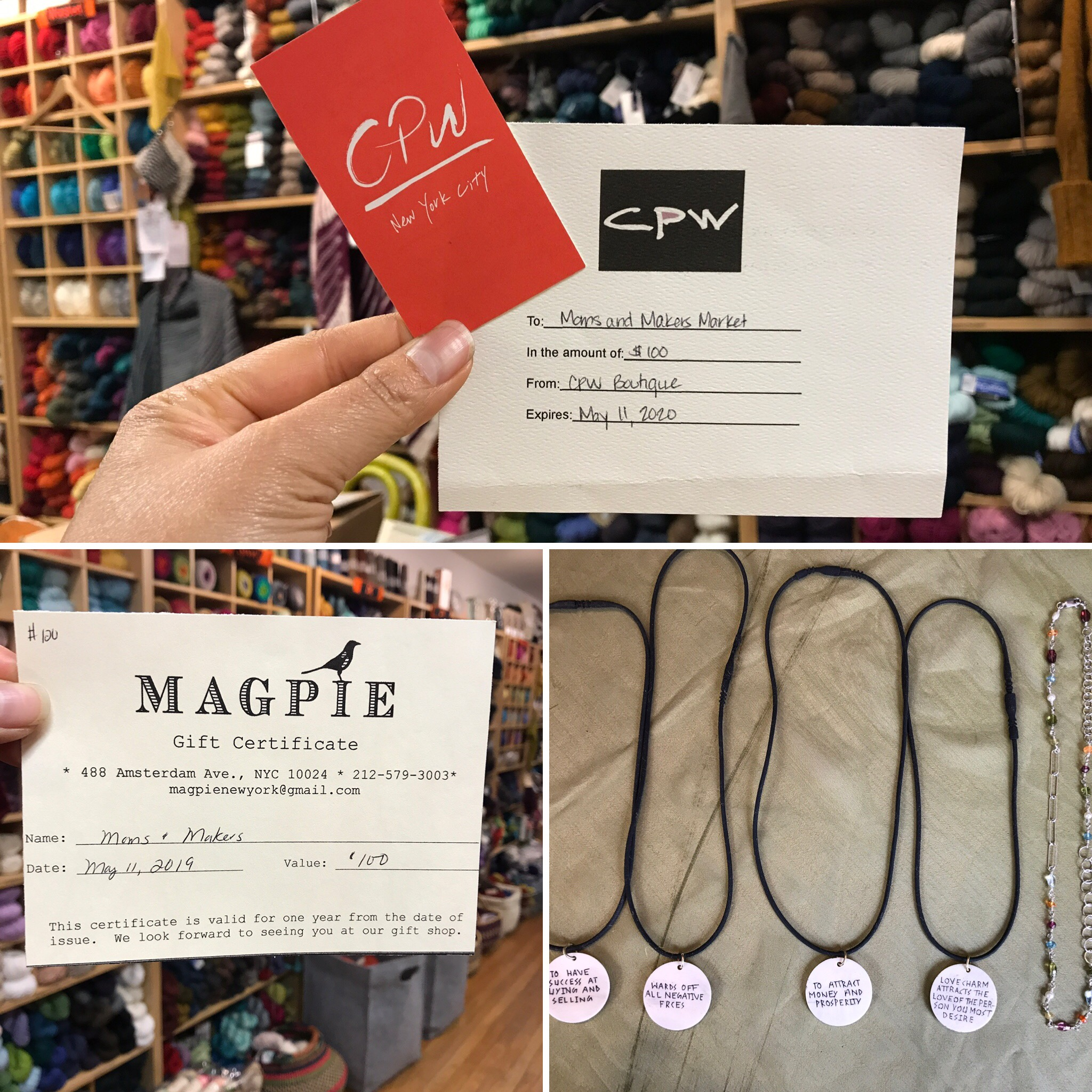 UWS Shopping Spree   CPW Boutique  gift card Value $100.-   Magpie New York  gift card value $100.-   Ray Anne School/ veryNYC  Necklace value $175.-  Starting Bid $180.-