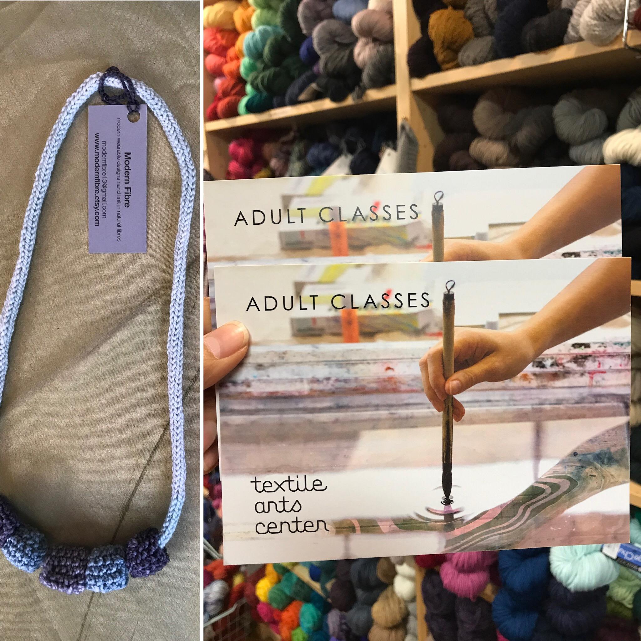 Textile Arts Class   Value $85.-   Modern Fibre Necklace   Value $40.-  Starting Bid $80