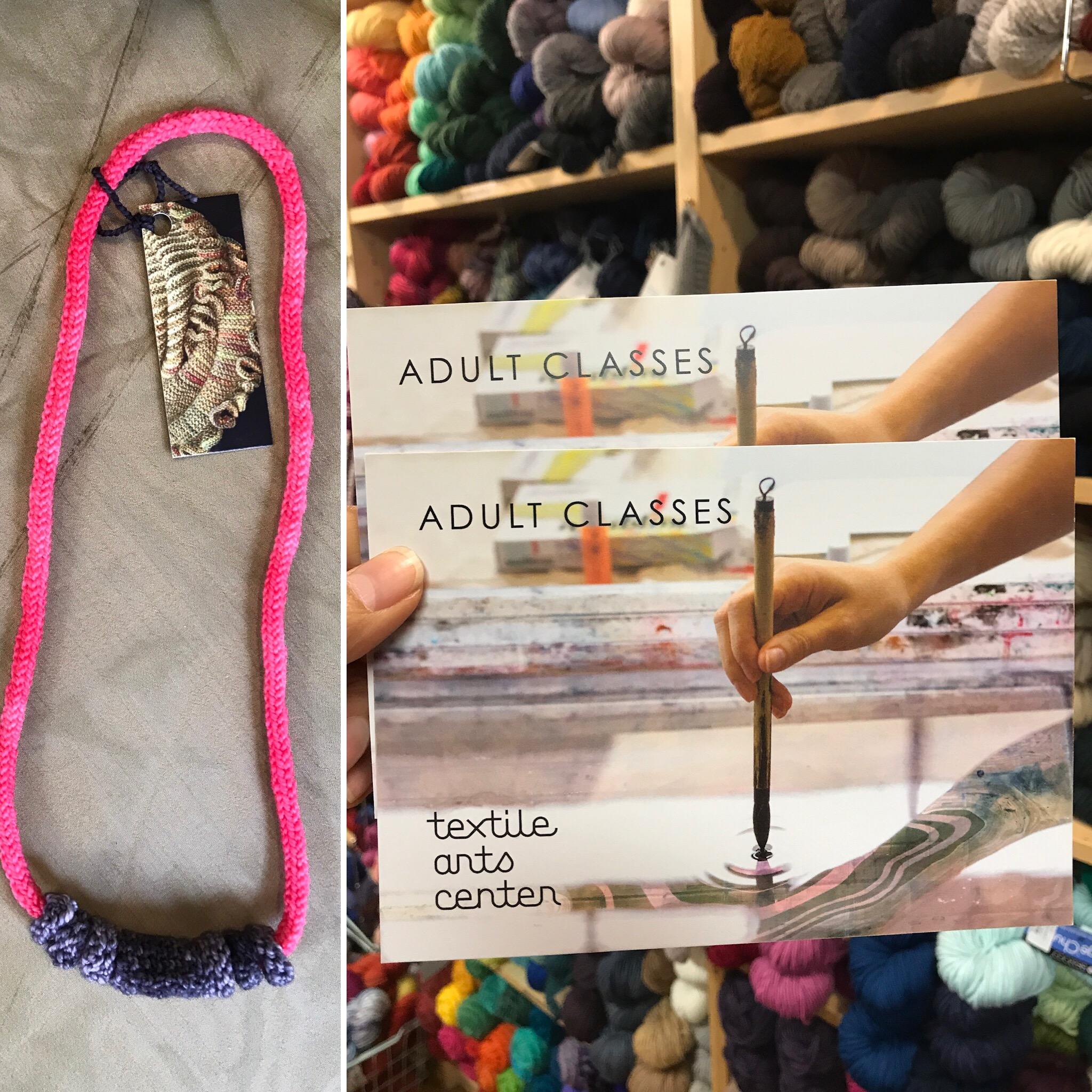 Textile Arts Class   Value $85.-   Modern Fibre Necklace   Value $40.-  Starting Bid  $80.-