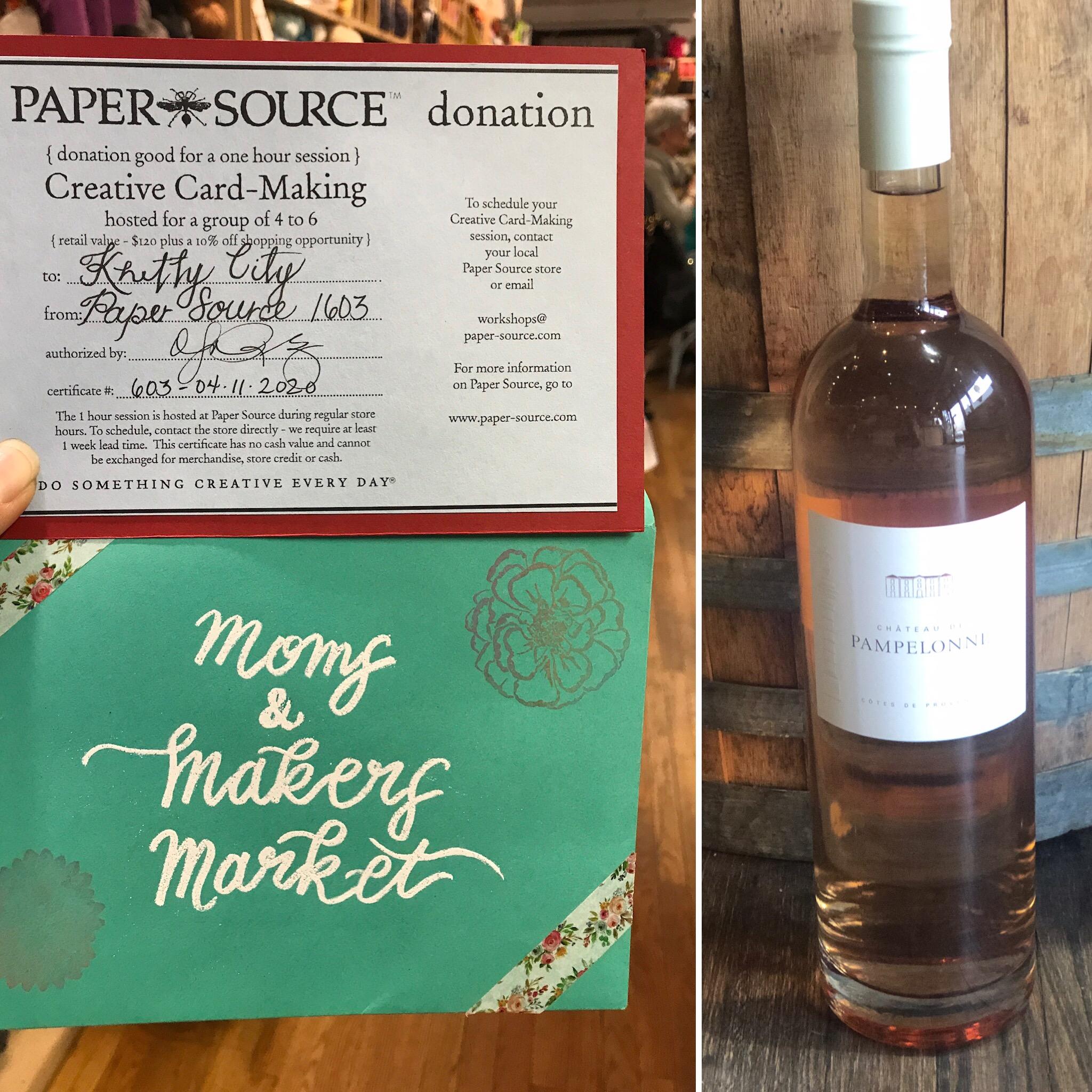 Craft and Sip   Paper Source Card  Making for 6 value $126   West Side Wine  bottle of Rose value $135  Starting Bid $125