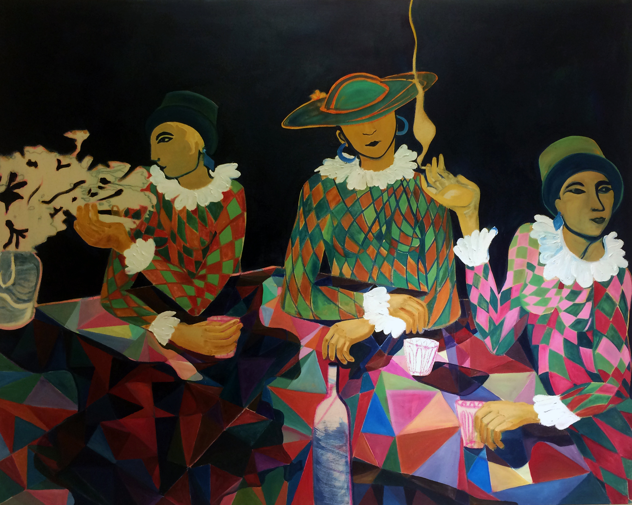 The Three Fates Contemplating on Humanity   Oil on canvas, 1.20 x 1.50 m / 4x5 ft