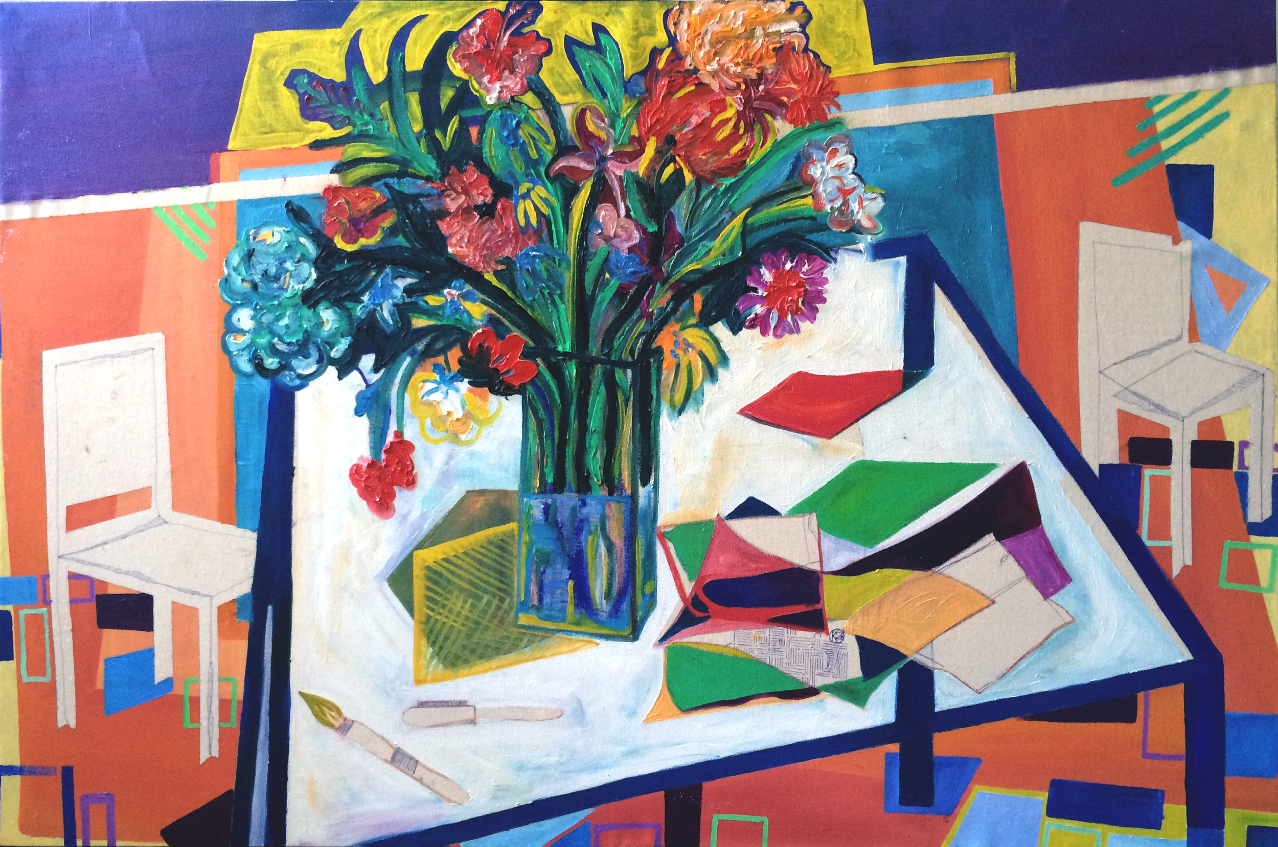 Flowers and the Table   Acrylic, oil on canvas, 125x87 cm / 34.2x49.2 inches