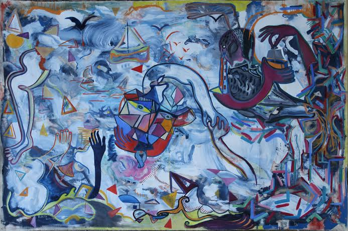The Storm (Τρικυμία)   Acrylic and Oil on Canvas,2, 35 m x 1, 62 m / 7.7x5.3 ft