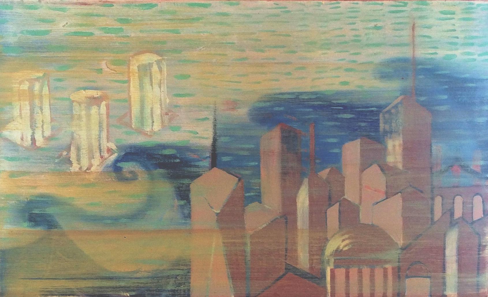 New York-Aegean   Oil on canvas, 30x50 cm / 11,8x19,6 inches