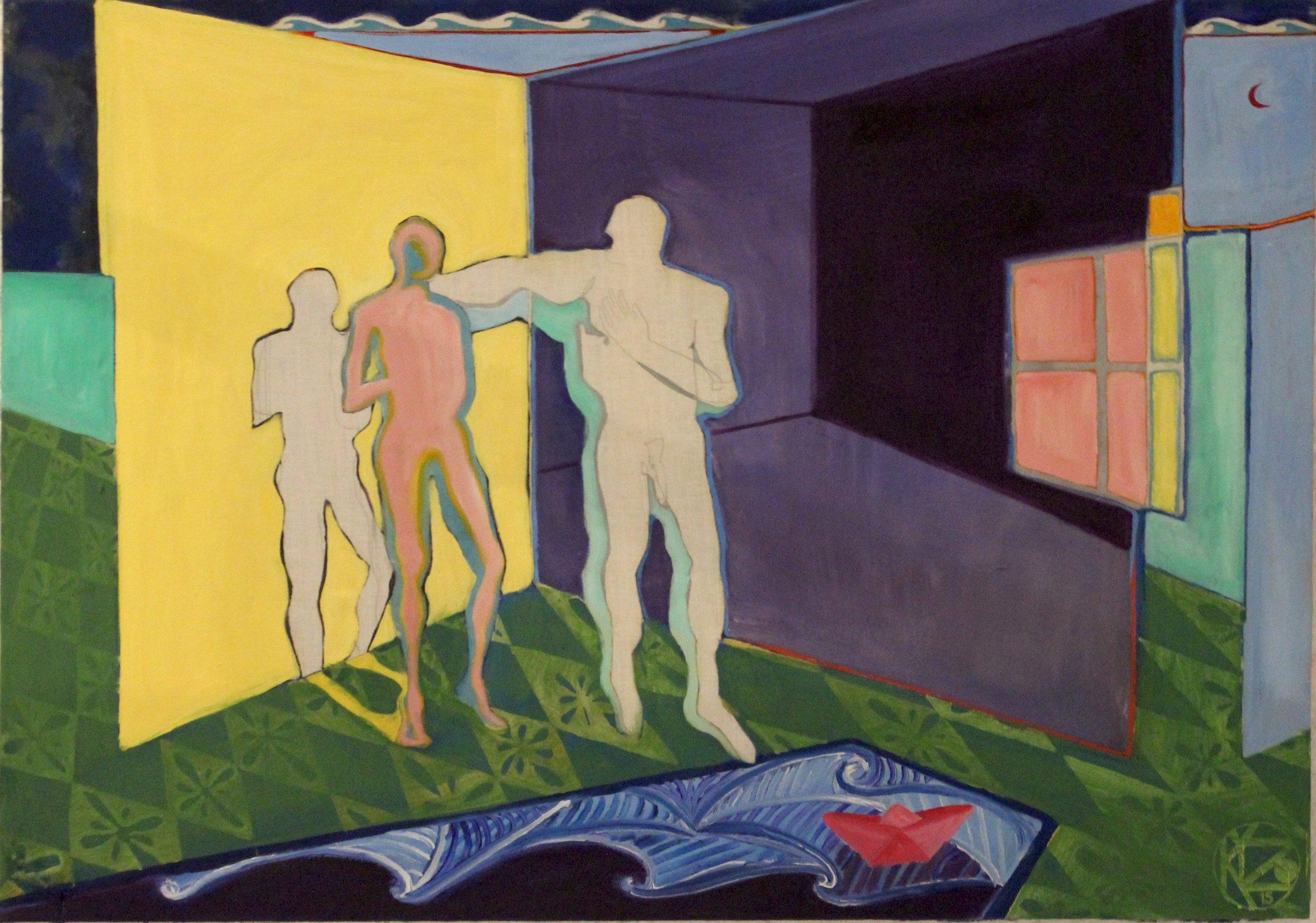 Sapho and Hebdomeros   Oil on canvas, 70x100 cm / 27,5x39,3 inches