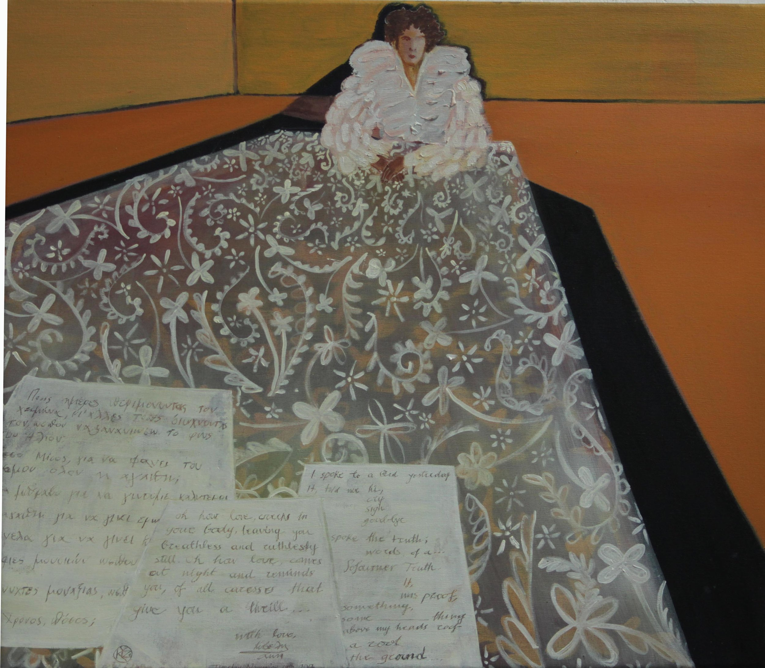 Nostalgia and Love Letters   Oil on canvas, 67x23 cm