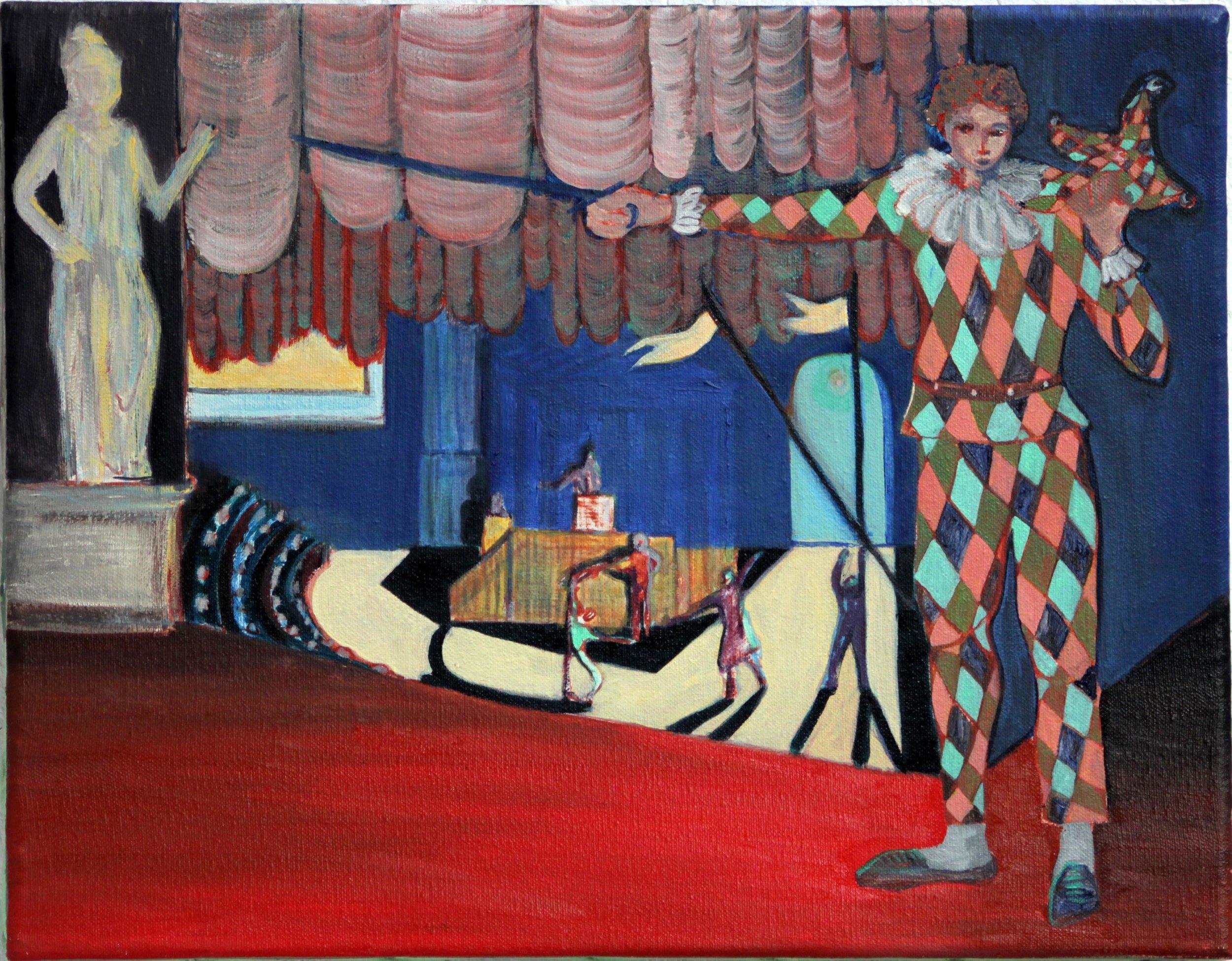 The Harlequin's Theatre  Oil on canvas, 45x35 cm