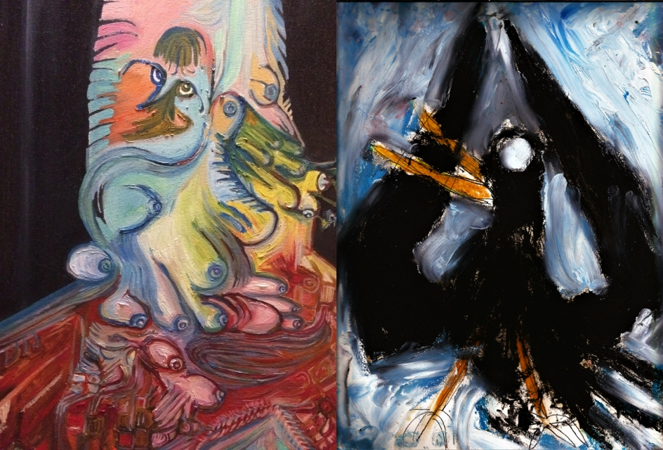 left:  In Room 1 - Jenny Moon Tucker oil on canvas; right:  Crow Dance Upon Ghost Wash Once - Matthew Pony Payroll Bones Proctor, oil and pastel on paper