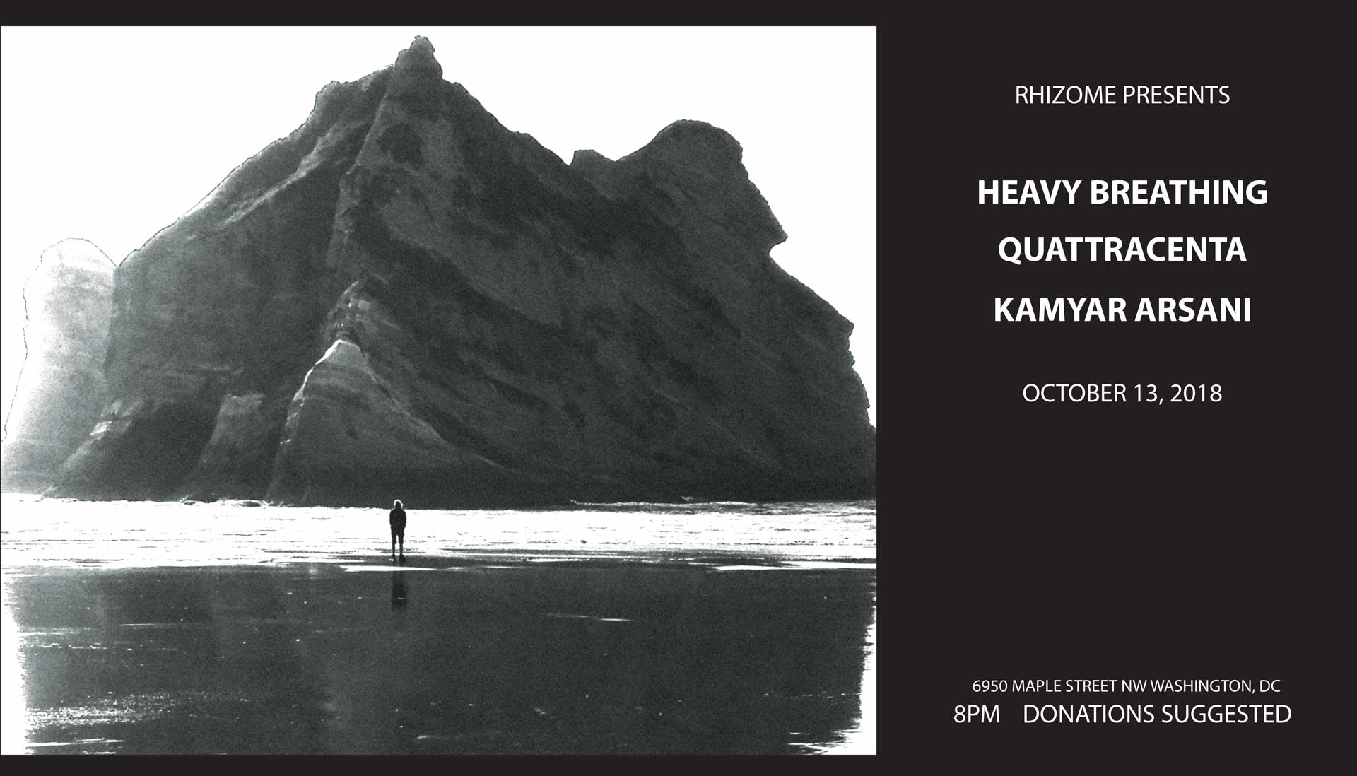 """Saturday october 13th 8PM $10    Heavy Breathing  , from Washington DC, have essentially been around for fifteen years. The core trio: Erick handling the axes, from bass to gits; Jeff, the drummer, who has now moved center stage; and Amanda, playing synths and organs made 6 records as the Apes, with three different vocalists; they then solved their singer problems by changing their name to Heavy Breathing and using found sounds from the World Wide Web in lieu of the old, clichèd human singer. Longevity in DIY music, artistic evolution, and prolific output: If you're up for adoption, this is the family you want.   **   Quattracenta  's sound is dark and atmospheric. Dispirited emotion combines with melody and power to create haunting songs that are eerie, surreal and smart.   Dark, dulcet tones creak from the belly of her guitar, while Sarah Matas sings at the edge of her breath, using as much air as inflection. Her lyrics vacillate between intimate snapshots and panoramic vistas that lament love, life and loss.  Beneath this landscape, a driving bass pushes forward to create a sinister tension. Pierced by brightness of the lead guitar and steadied by the notably tonal percussion of the drums, each instrument stands alone in its unique contribution yet combine together to form a lush, velvet darkness.  Their debut EP with J Robbins of Magpie Cage Studios, was released on 20/20 Records and Tapes and is distributed through Dischord Records.  **    Kamyar Arsani   is a multi-instrumentalist, singer and songwriter born and raised in Tehran, Iran. At young age, Kamyar began daf (Persian frame drum) lessons with Master Bijan Kamkar. Kamyar also spent time playing meditative rhythms for hours at a time for Sufis. Kamyar has spent over 20 years performing and researching the daf and its roots. Kamyar's songs and performances are very much inspired by the people of Iran and their history of struggle and protest. He produced his first solo album in 2015, entitled """"No Freedom.K"""