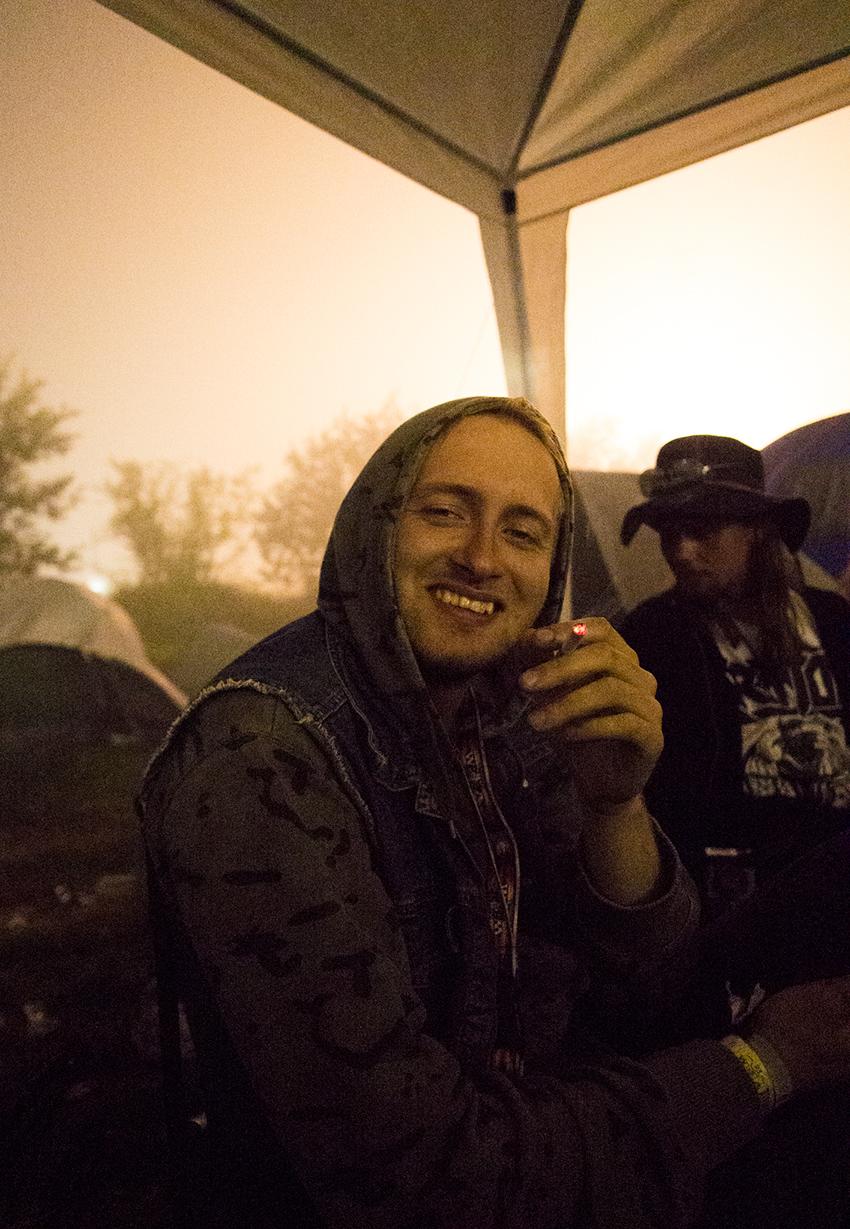 Wacken Metal Battle 2012: John happy in the night.   Photo: © Eija Mäkivuoti.