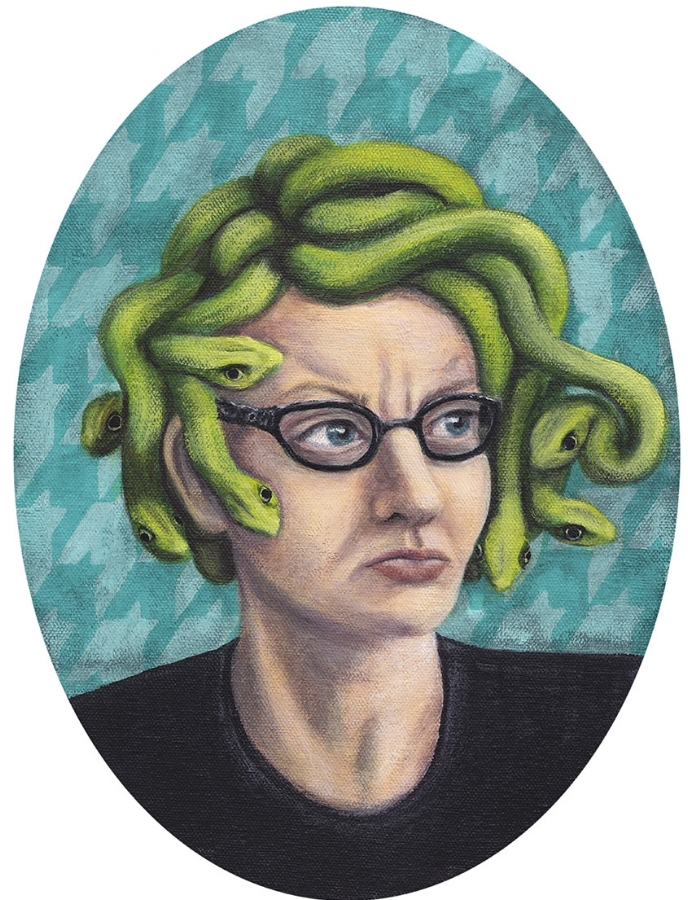 Medusa (Self Portrait by LKJ) Acrylic on Canvas