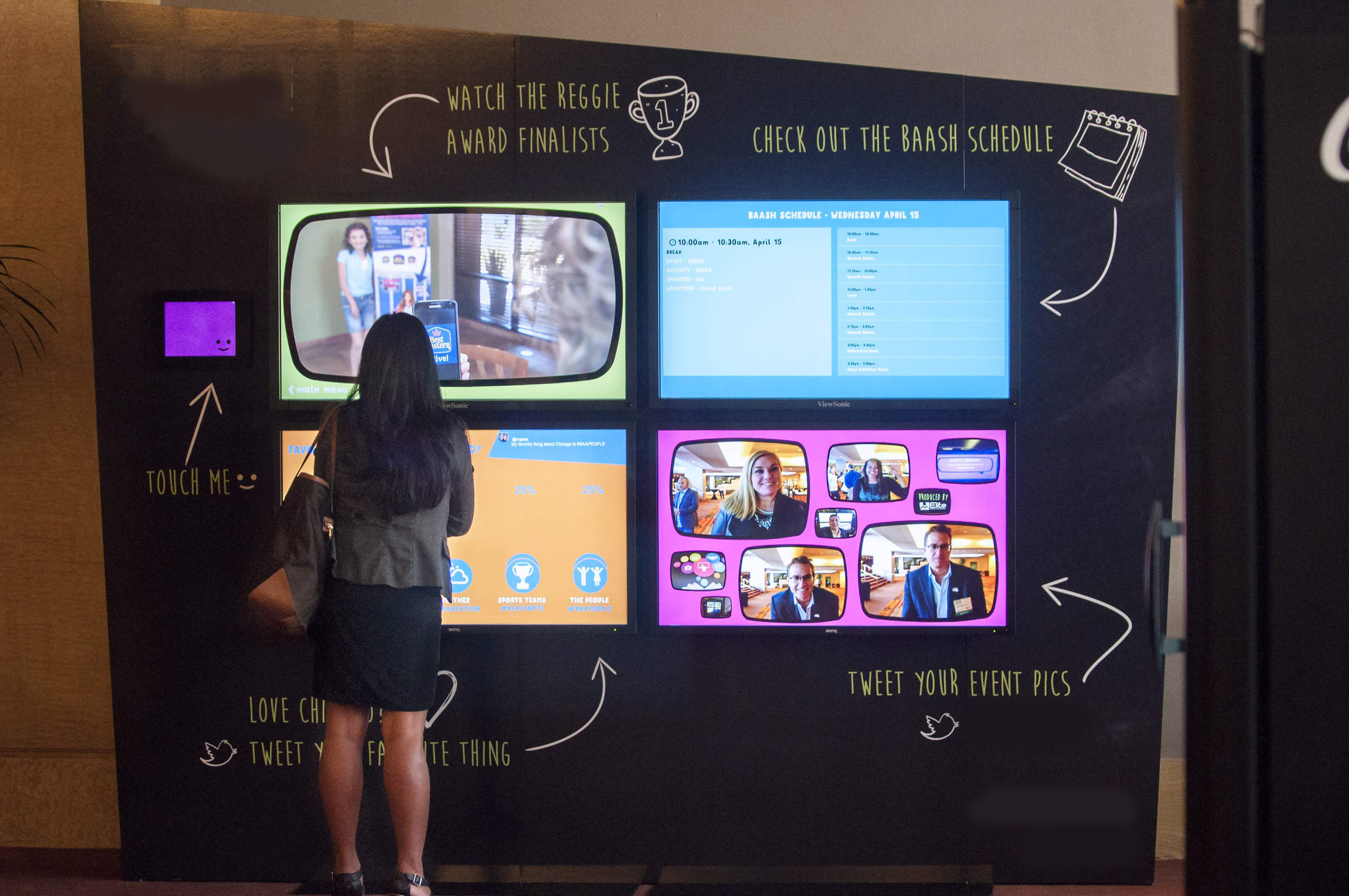 An interactive and social live video wall.