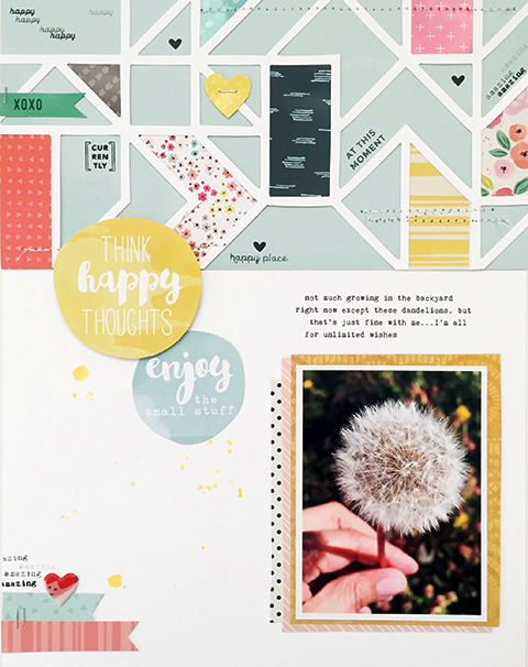 Top portion of layout: Gossamer Blue  Main Add-On  Kit • Stamps: May  Life Pages  Kit and May  Main Scrapbook  Kit • Title Circles: May 2016  Main Kit  &  Add-On Kit #2  • Puffy Heart sticker: Main  Life Pages  Kit • Layering Papers:  Main  Kit &  Main Add-On  Kit
