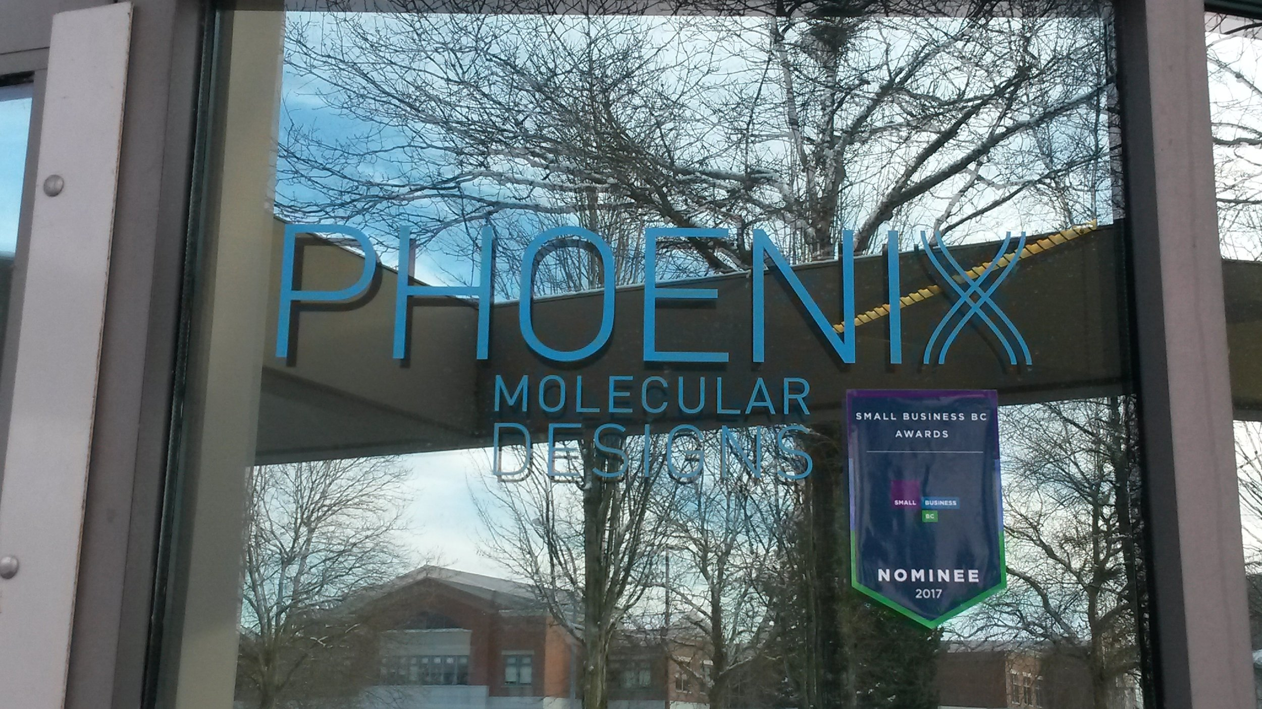 New Window decal outside phoenix Molecular designs at the richmond LABORATORIES #SBBCAWARDS