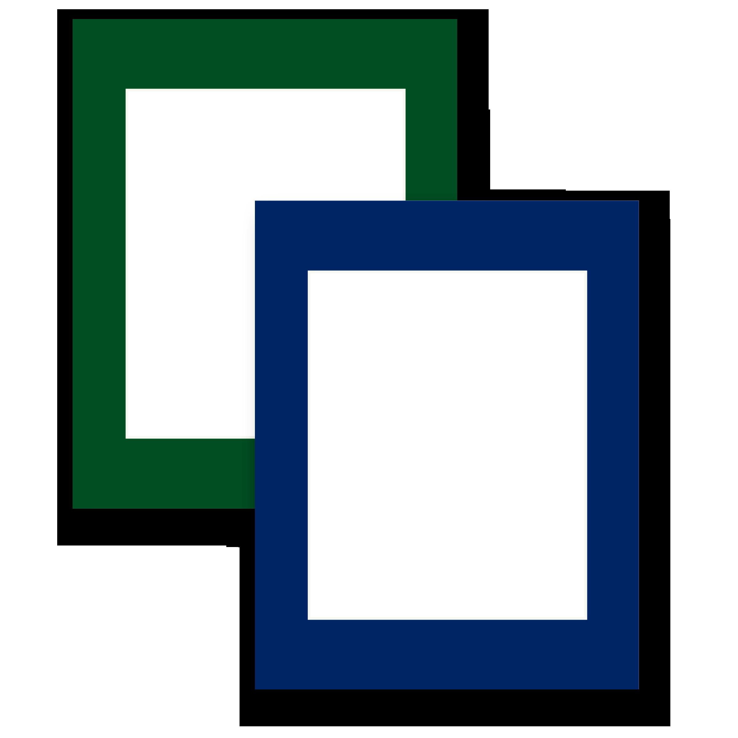 (Choice of Hunter Green or Navy Blue Mat Framing)