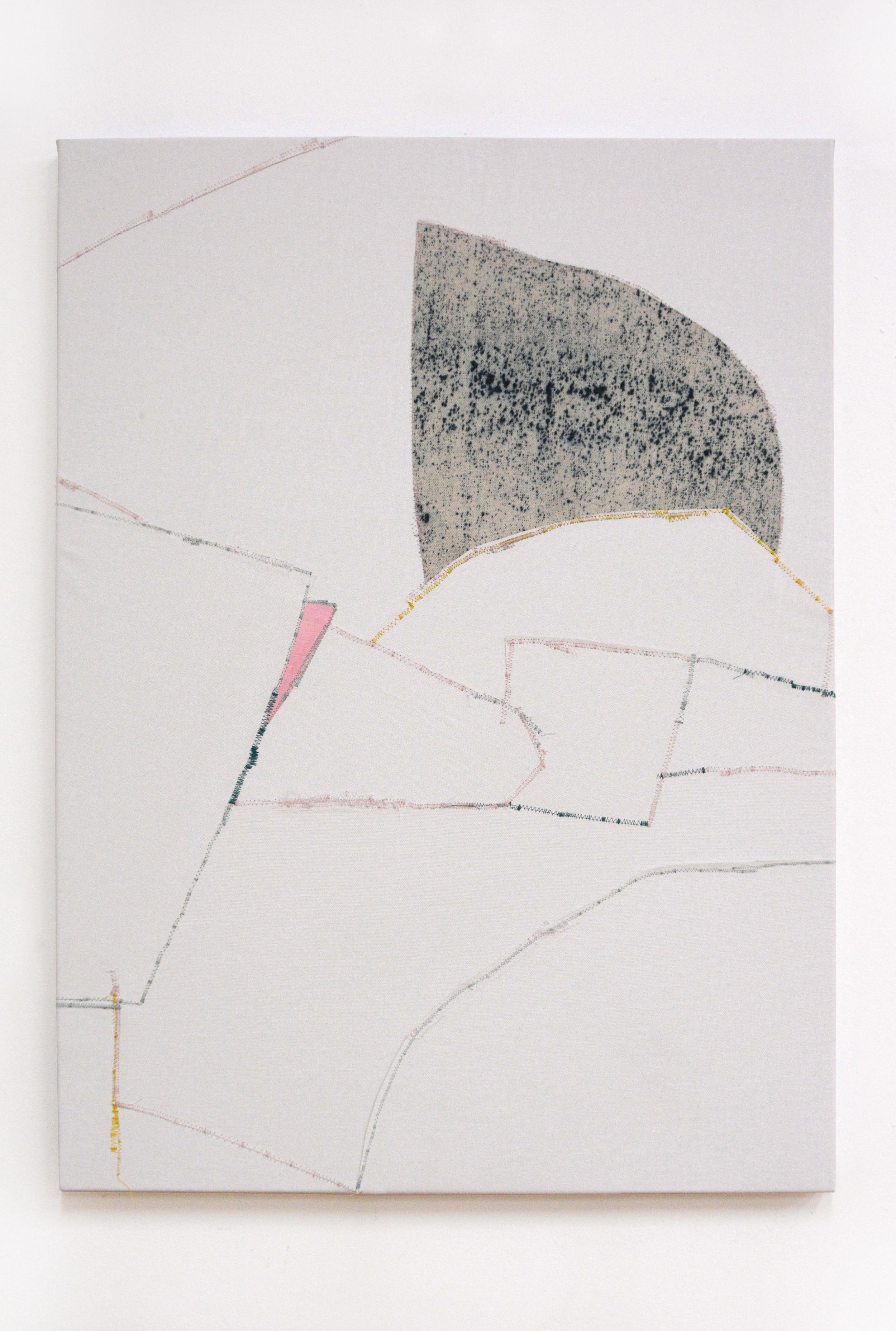 Tumble  , oil and thread on canvas, 56 x 76 cm, 2016  .