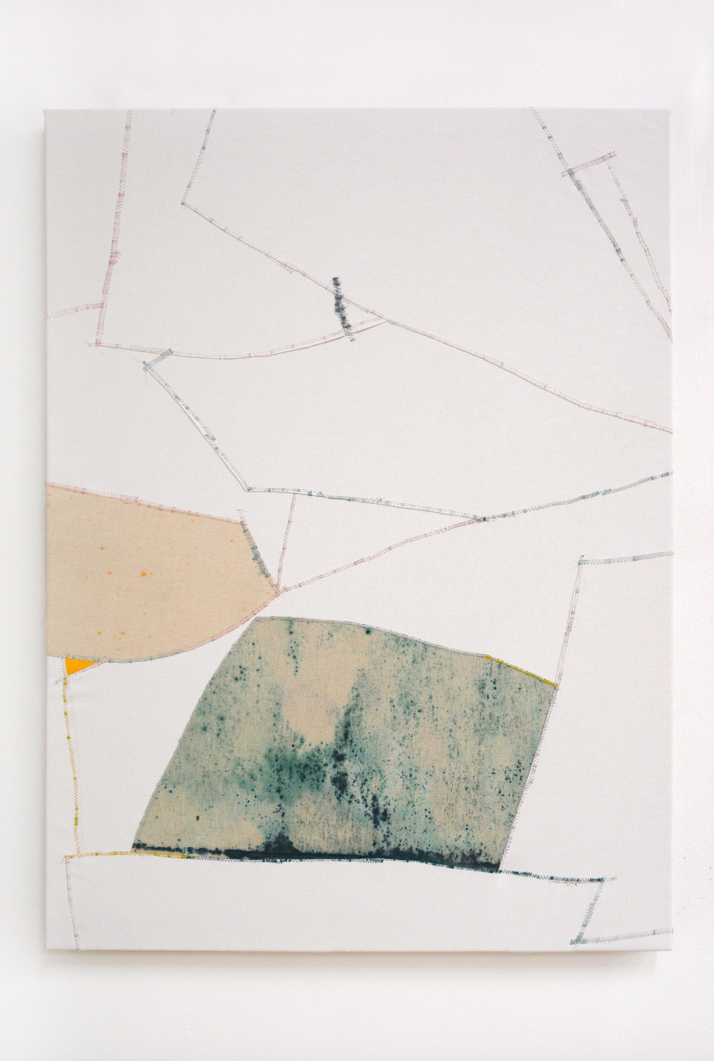 Toss , oil and thread on canvas, 56 x 76 cm, 2016  .