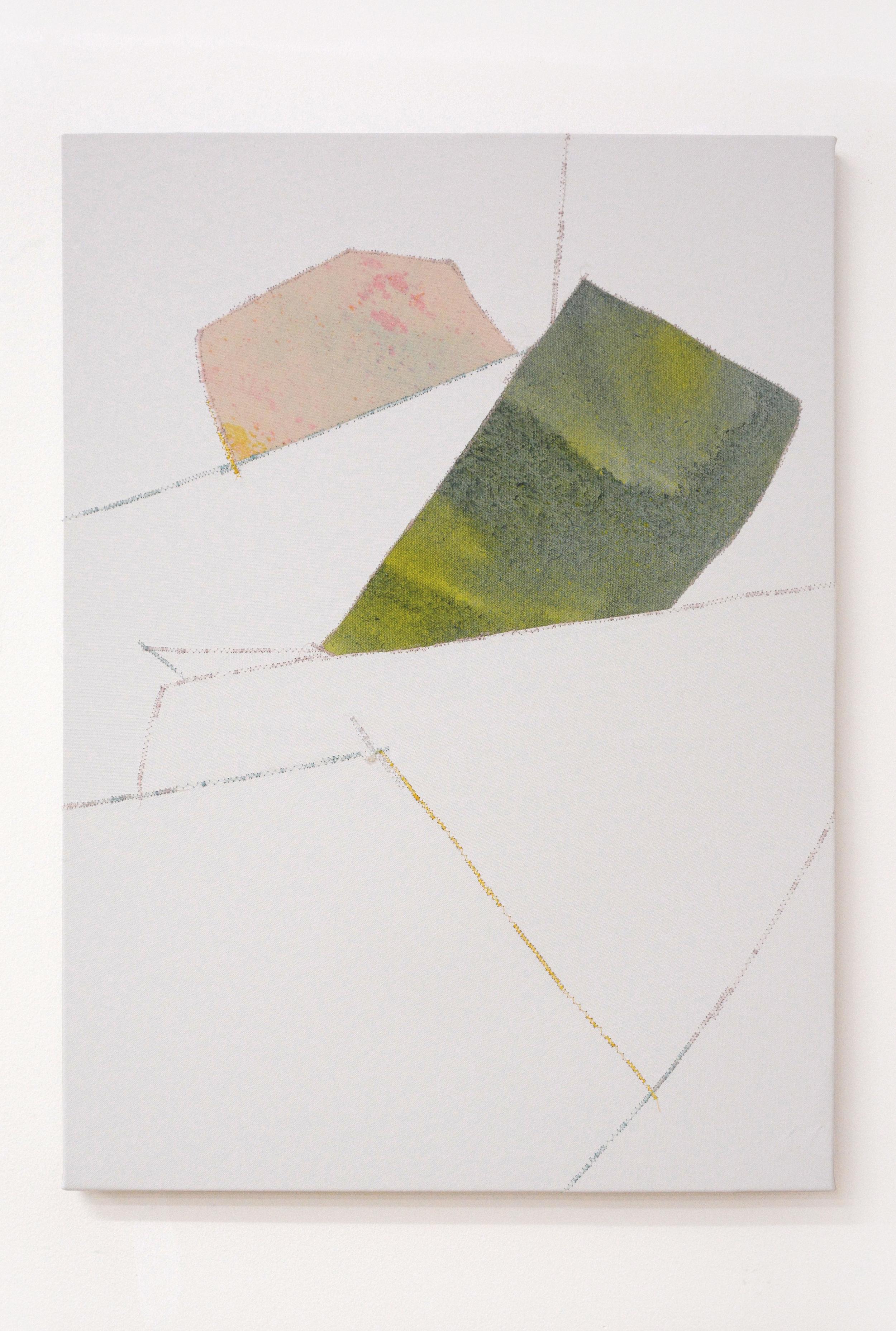 Twist , oil and thread on canvas, 56 x 76 cm, 2016  .