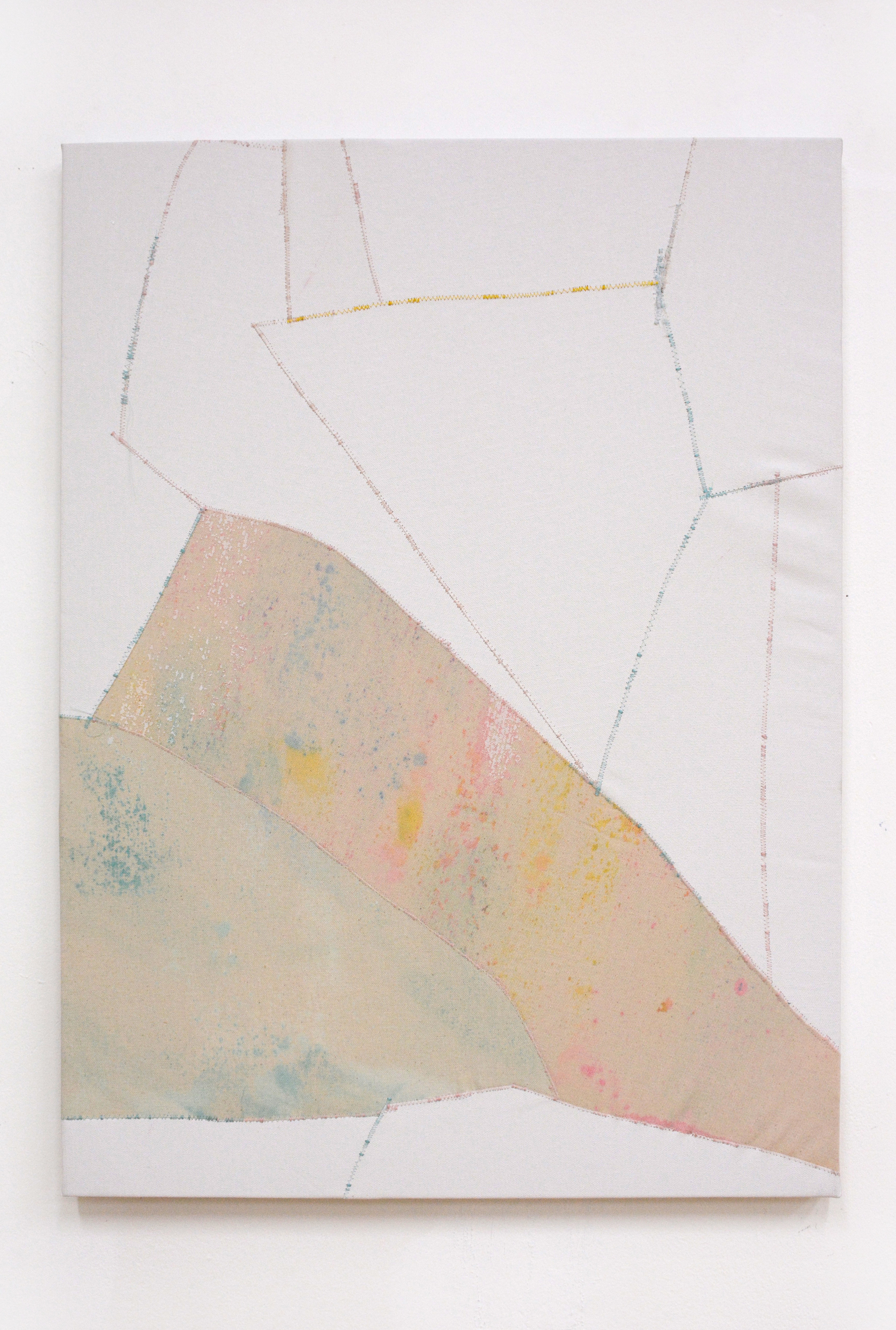 Bee , oil and thread on canvas, 56 x 76 cm, 2016  .